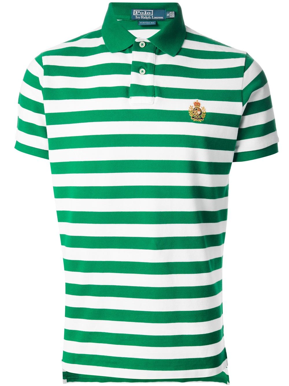 Polo ralph lauren Striped Polo Shirt in Green for Men | Lyst