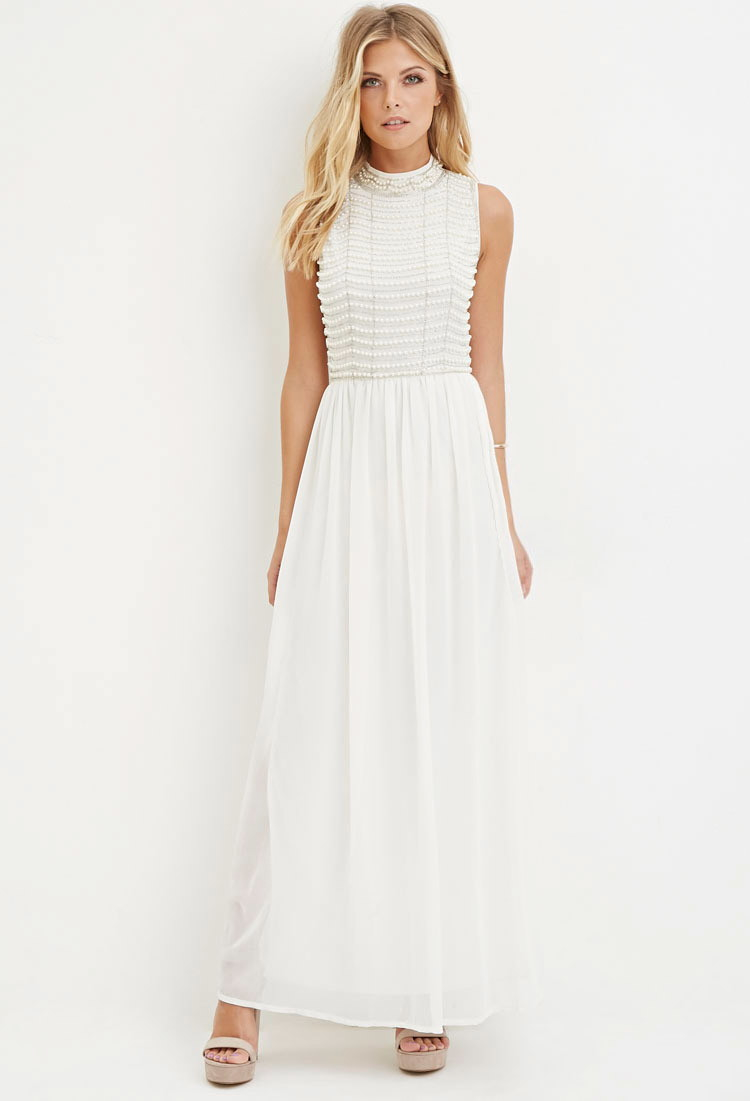 add2ee8bed1a Lyst - Forever 21 Contemporary Beaded Chiffon Maxi Dress in White