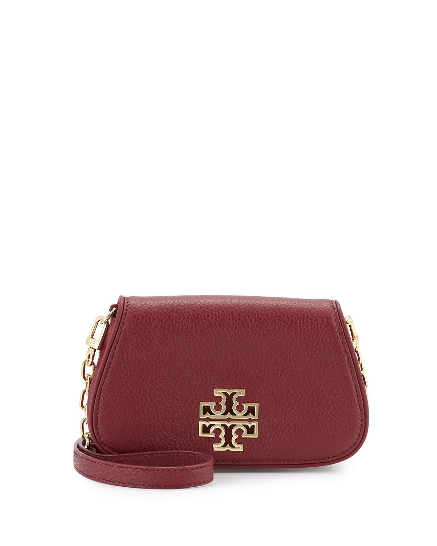 tory burch britten mini leather crossbody bag in red lyst