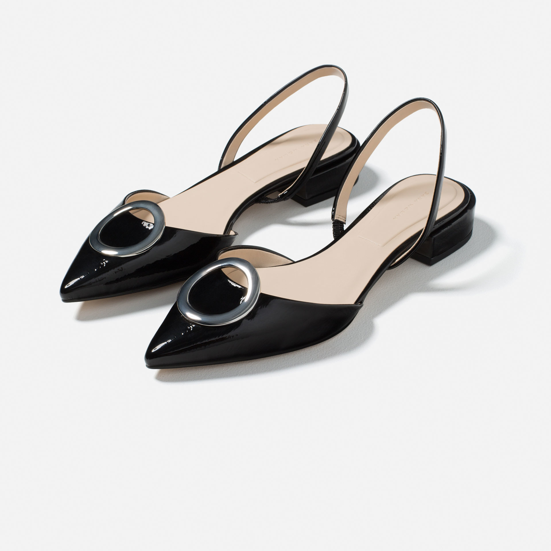 zara flat shoes with detail lyst