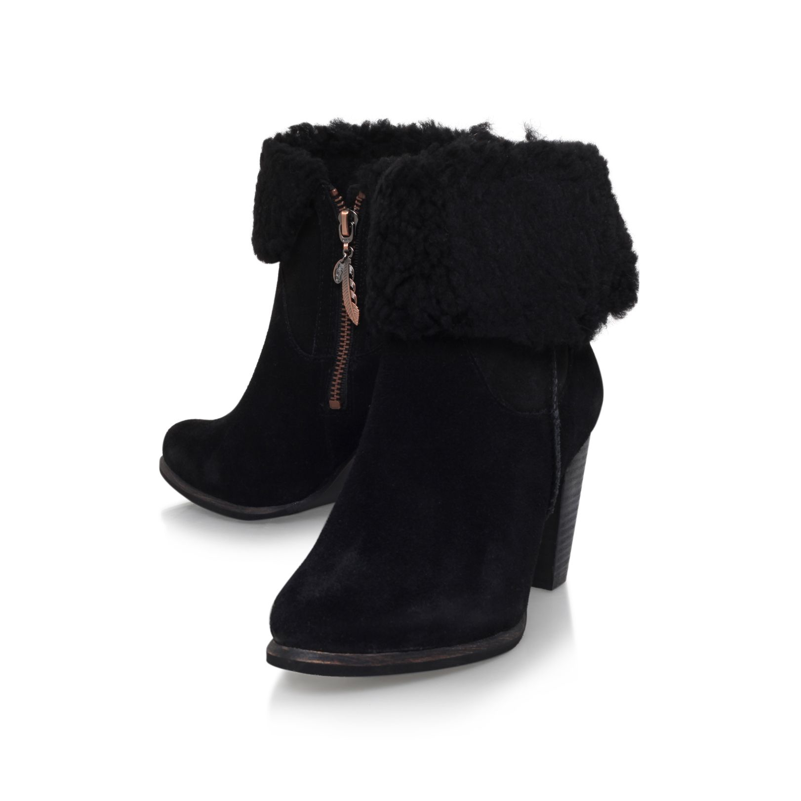 ugg charlee high heel fur cuff ankle boots in black lyst