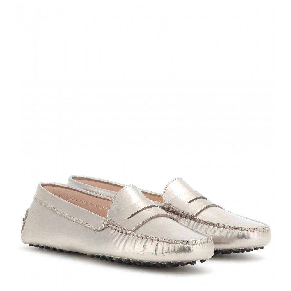 3b32388eb50 Lyst - Tod s Gommino Metallic Leather Loafers in Metallic