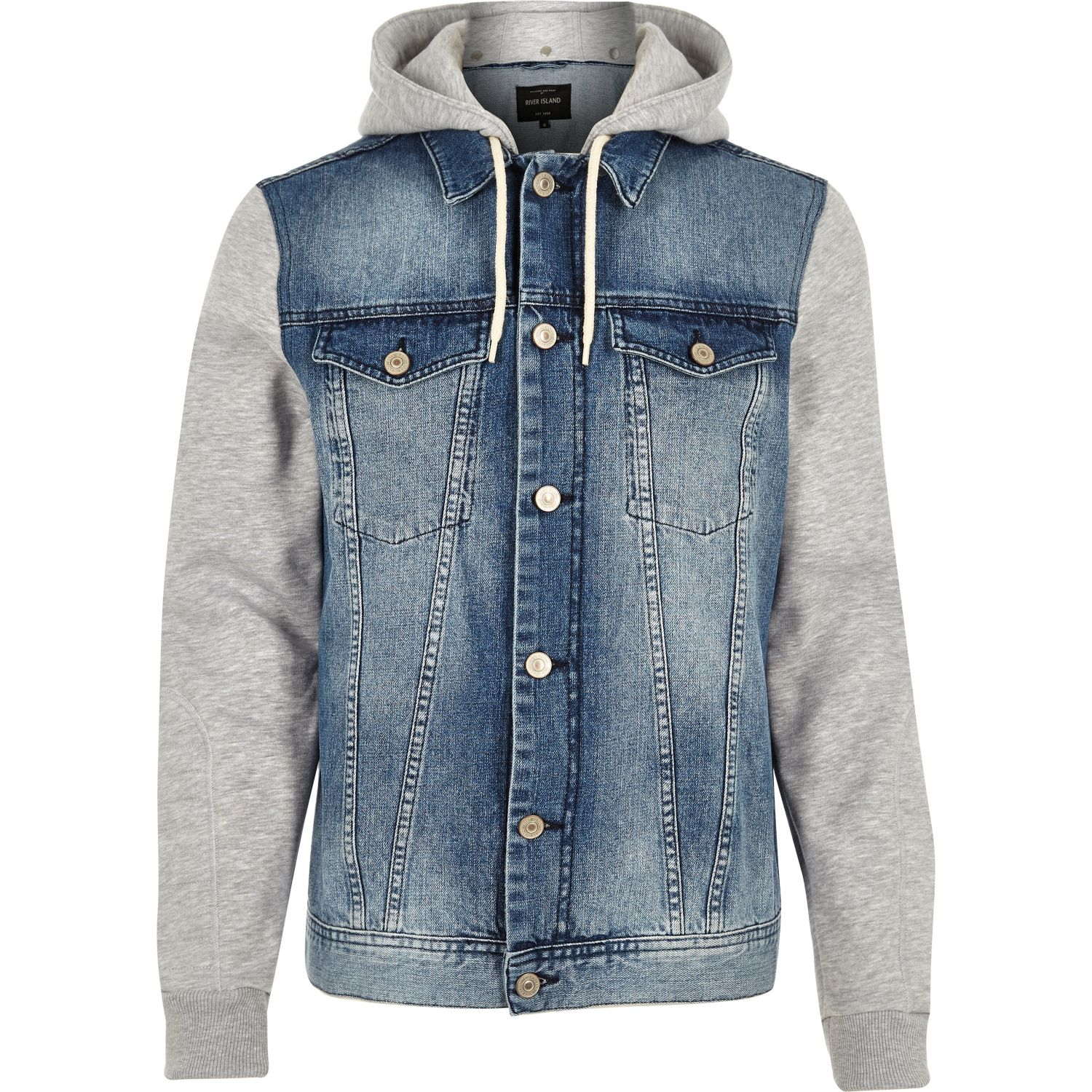 river island blue jersey hoodie denim jacket in blue for. Black Bedroom Furniture Sets. Home Design Ideas