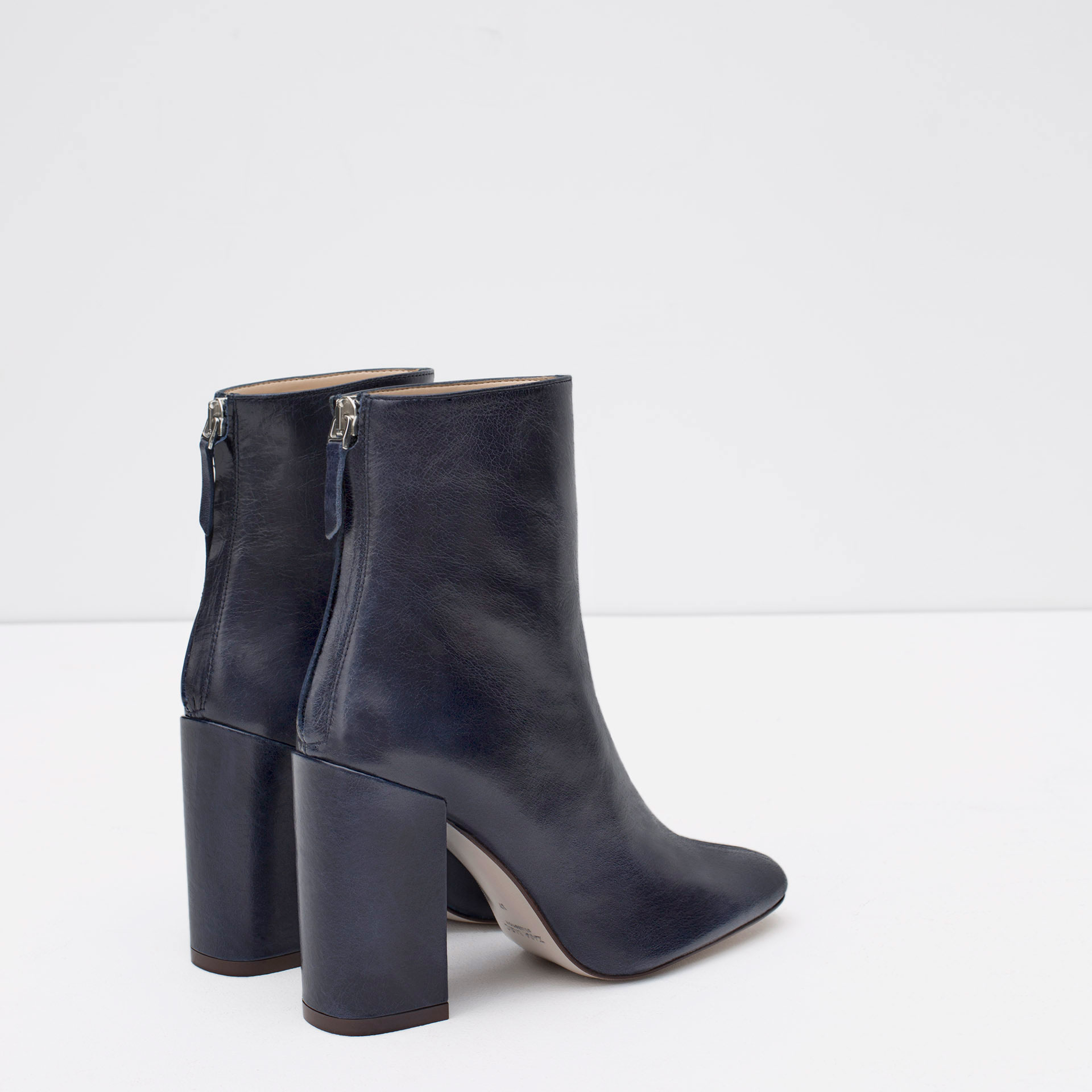 zara leather ankle boots with block heel in blue lyst