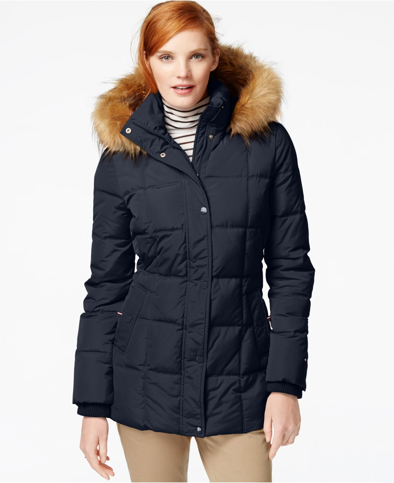 Tommy hilfiger Faux-fur-trim Quilted Puffer Coat in Blue ...