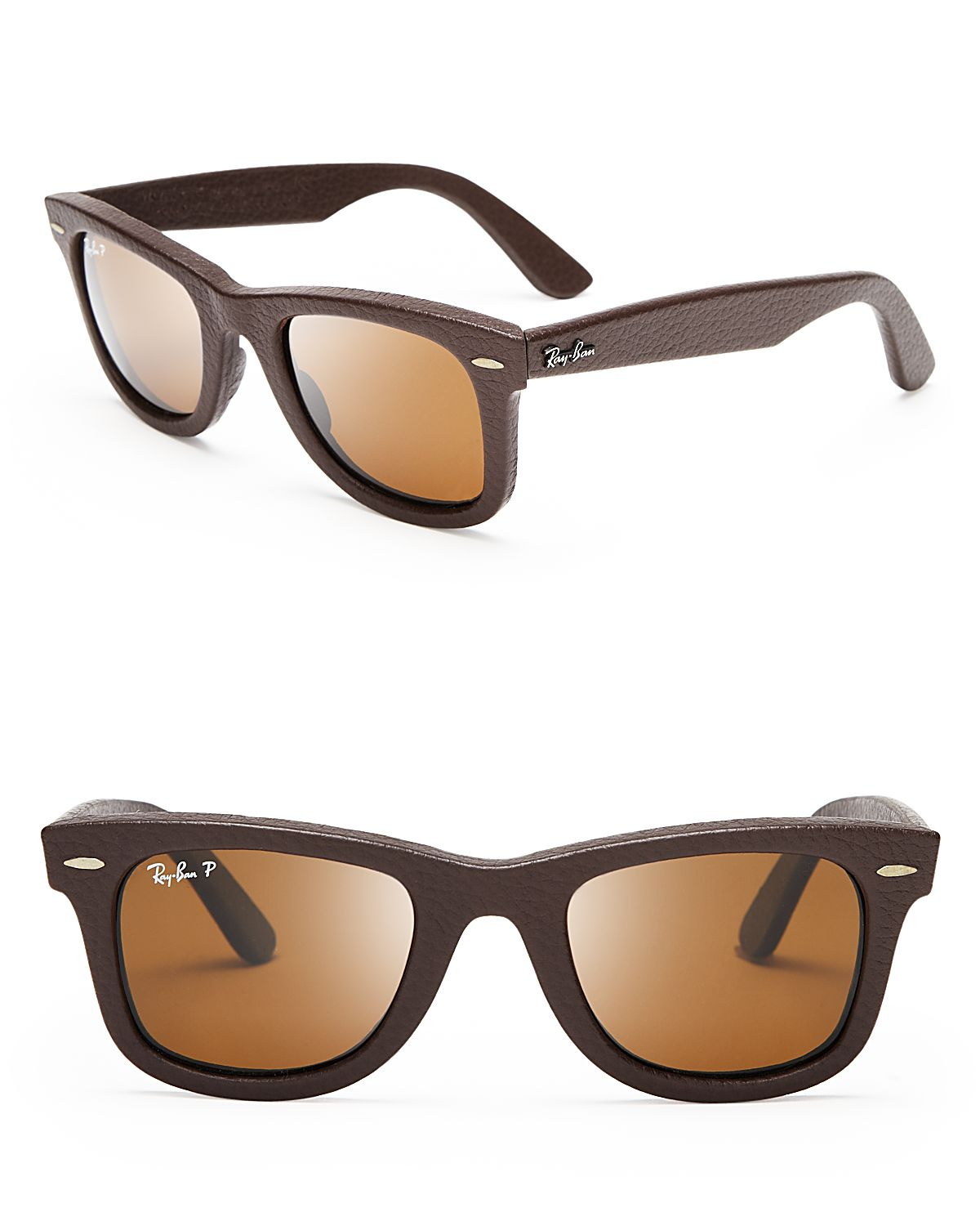 136495396d6 Ray-Ban Polarized Leather Wayfarer Sunglasses in Brown for Men - Lyst