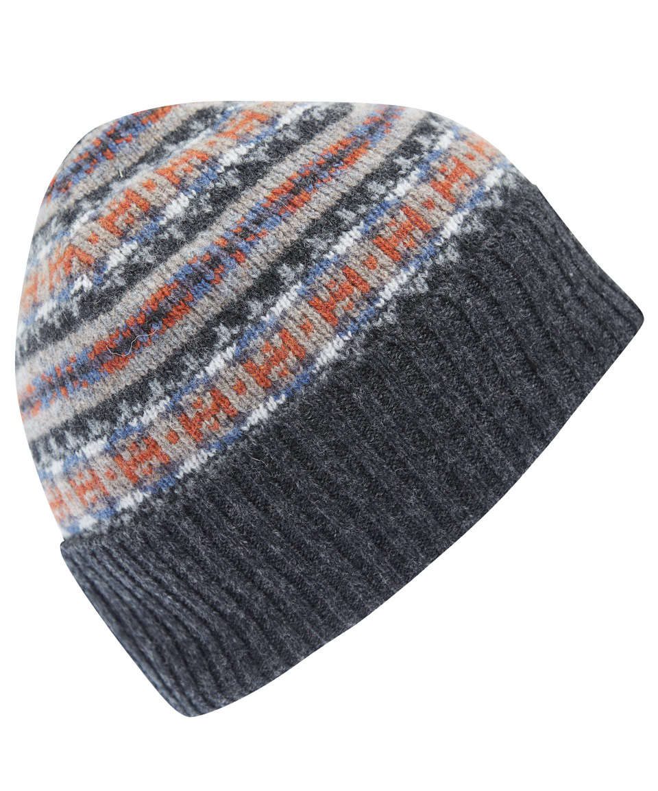 1a622a6d9aa Barbour Grey Melrose Fairisle Wool Beanie Hat in Gray for Men - Lyst
