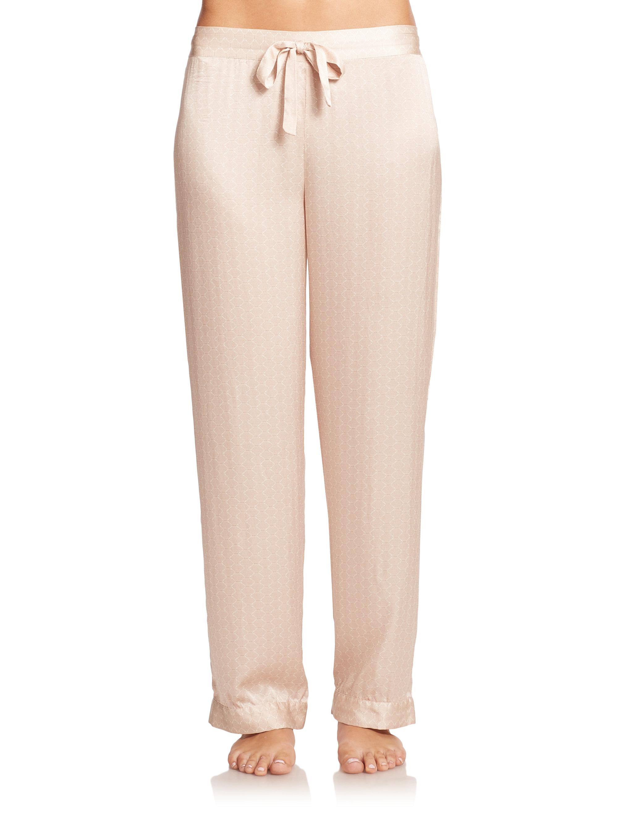 Lyst - Asceno Tile-print Silk Pajama Pants in Natural c9967d9ba