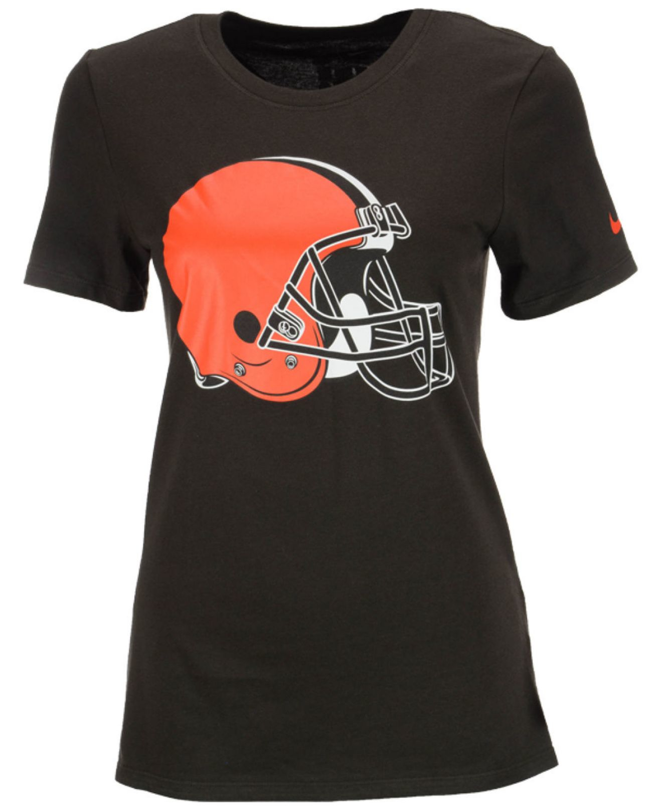 Nike women 39 s cleveland browns logo t shirt in brown lyst for Cleveland t shirt printing