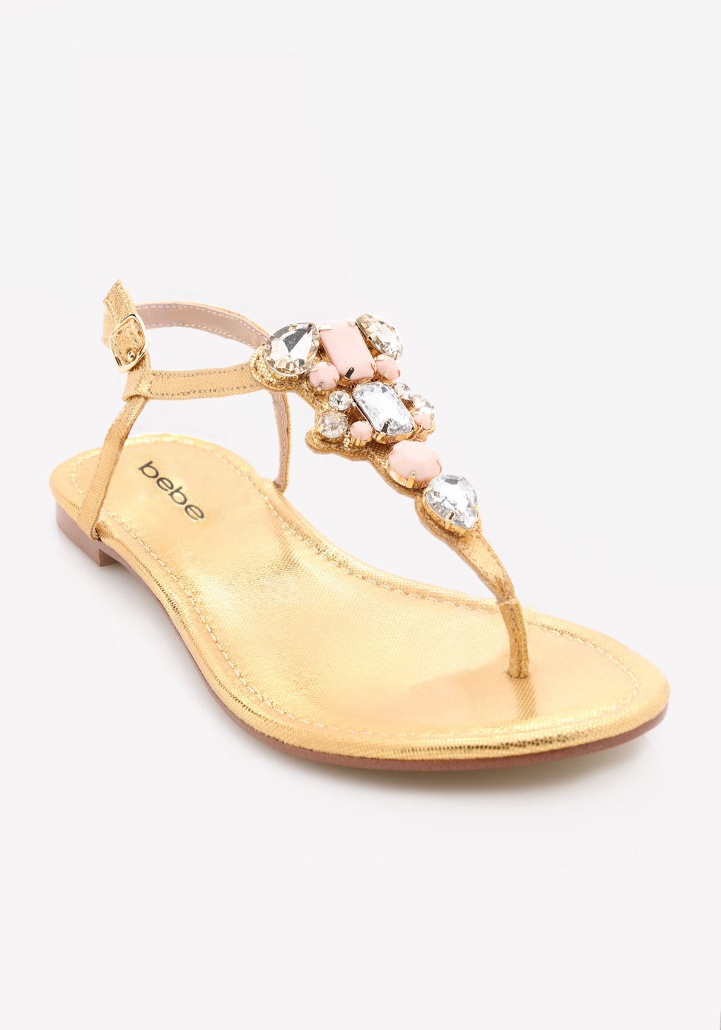 9fd3084658ceeb Lyst - Bebe Shaya Jeweled Flat Sandals in Natural