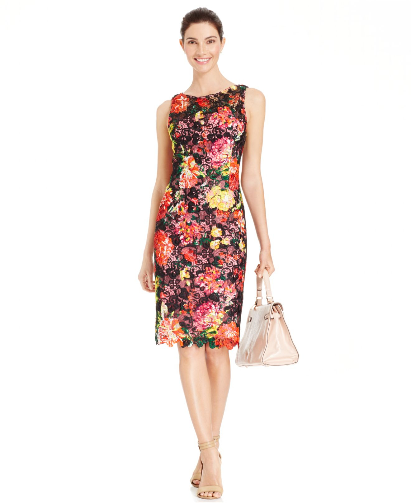 Lyst - Adrianna Papell Floral-print Lace Sheath Dress in Black