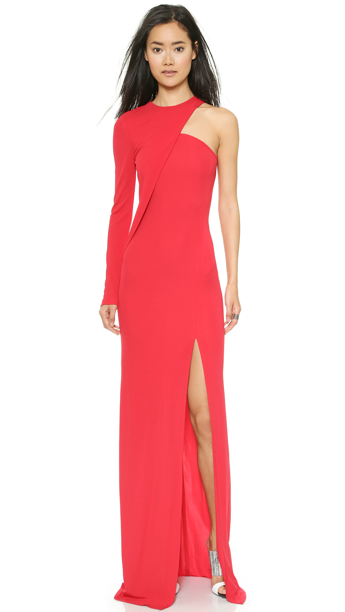 Cut25 by yigal azrouël One Shoulder Long Sleeve Gown in Red | Lyst