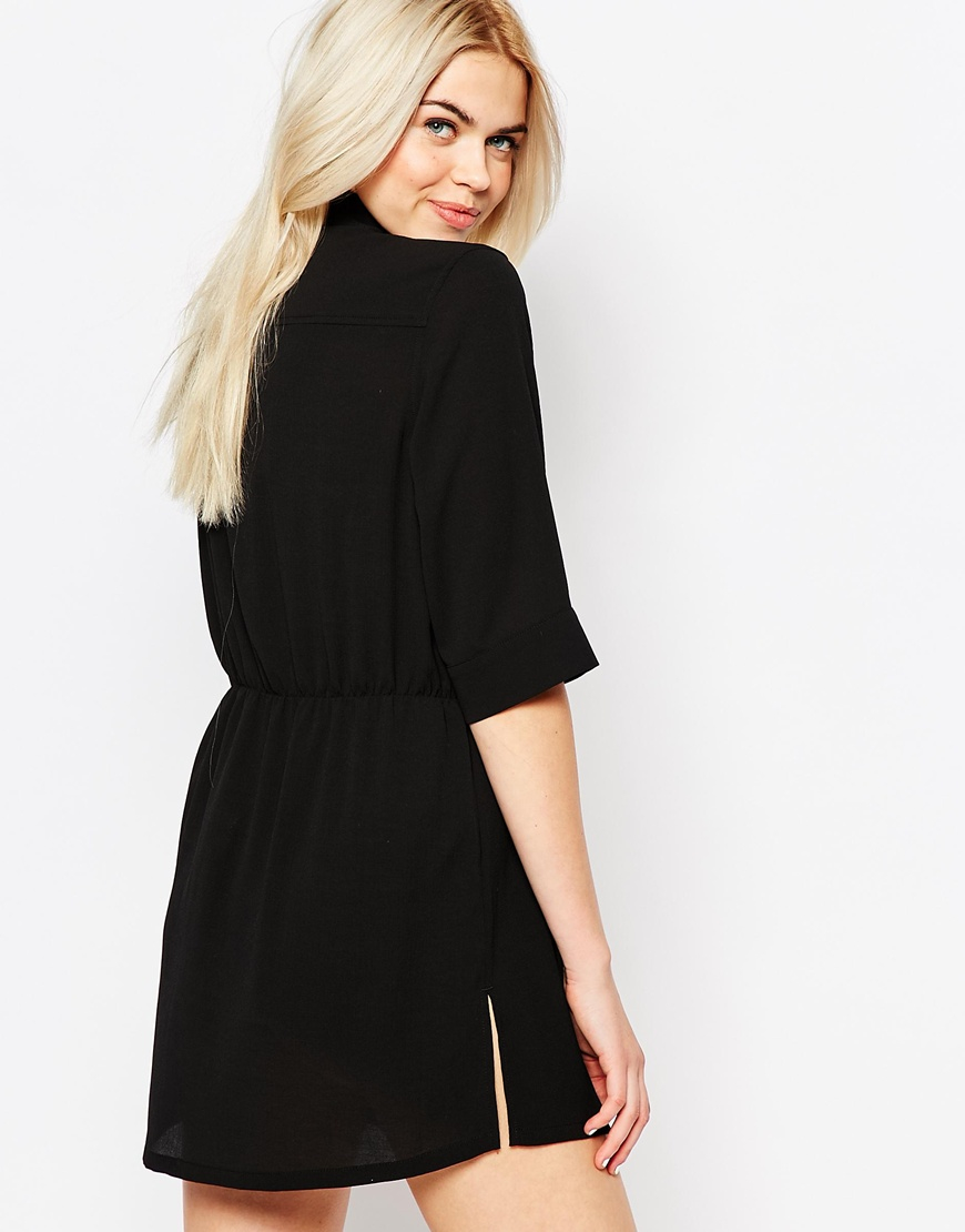 Monki zip front shirt dress black in black lyst for Zip up dress shirt