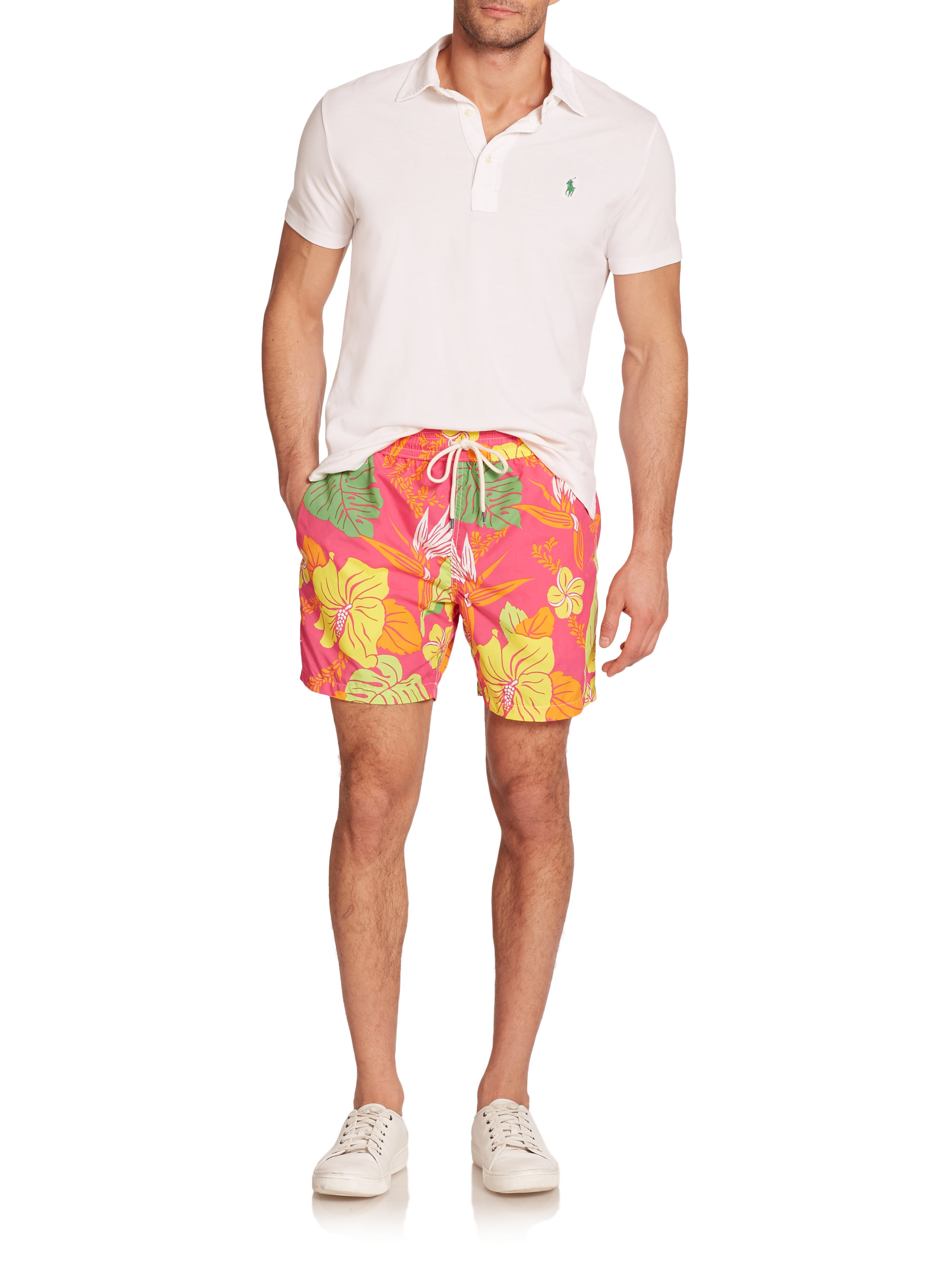 05d4f5e04a ... switzerland lyst polo ralph lauren traveler floral print swim trunks  for men eb1c9 adade