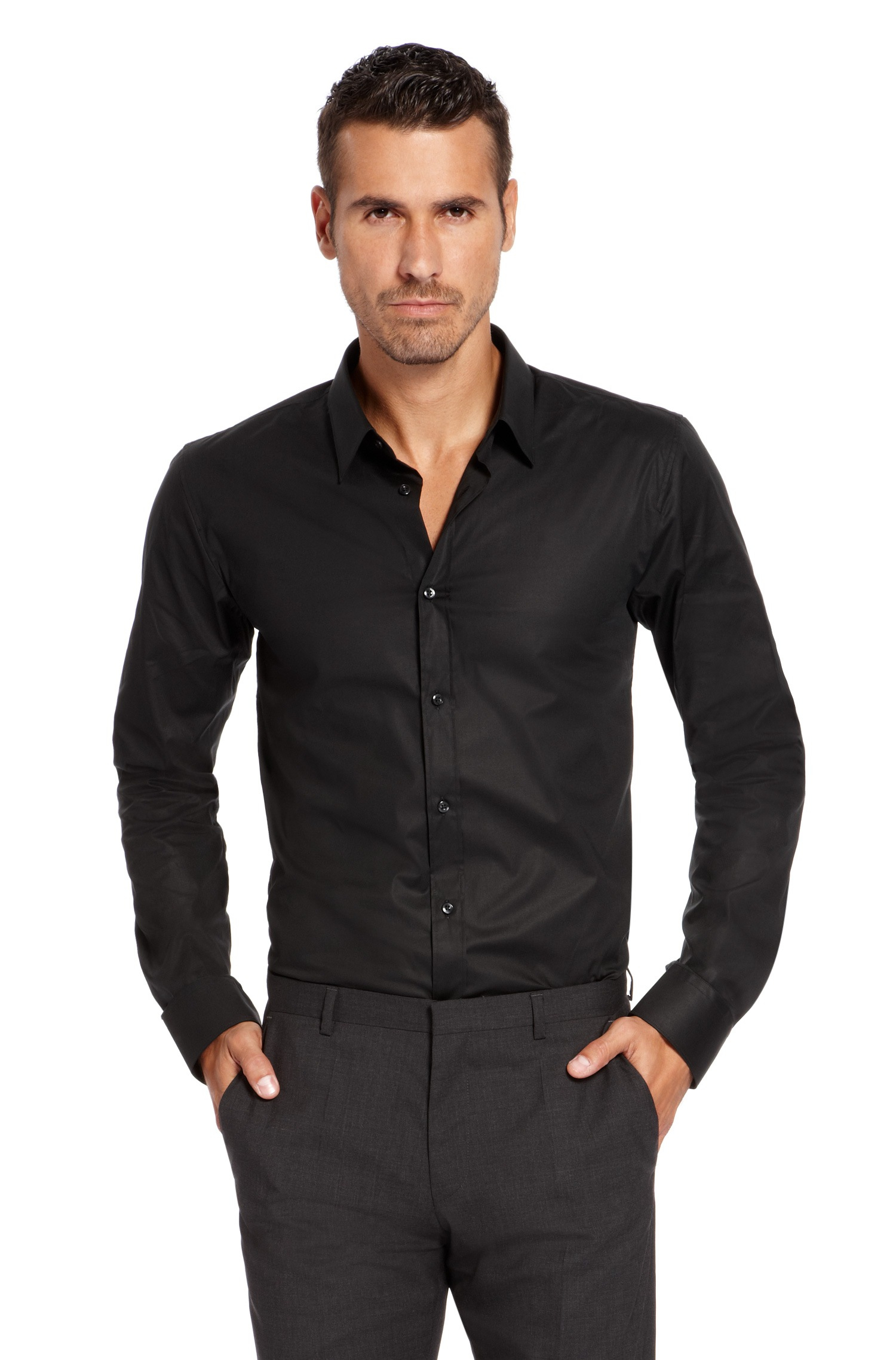 lyst hugo 39 elisha 39 slim fit point collar stretch