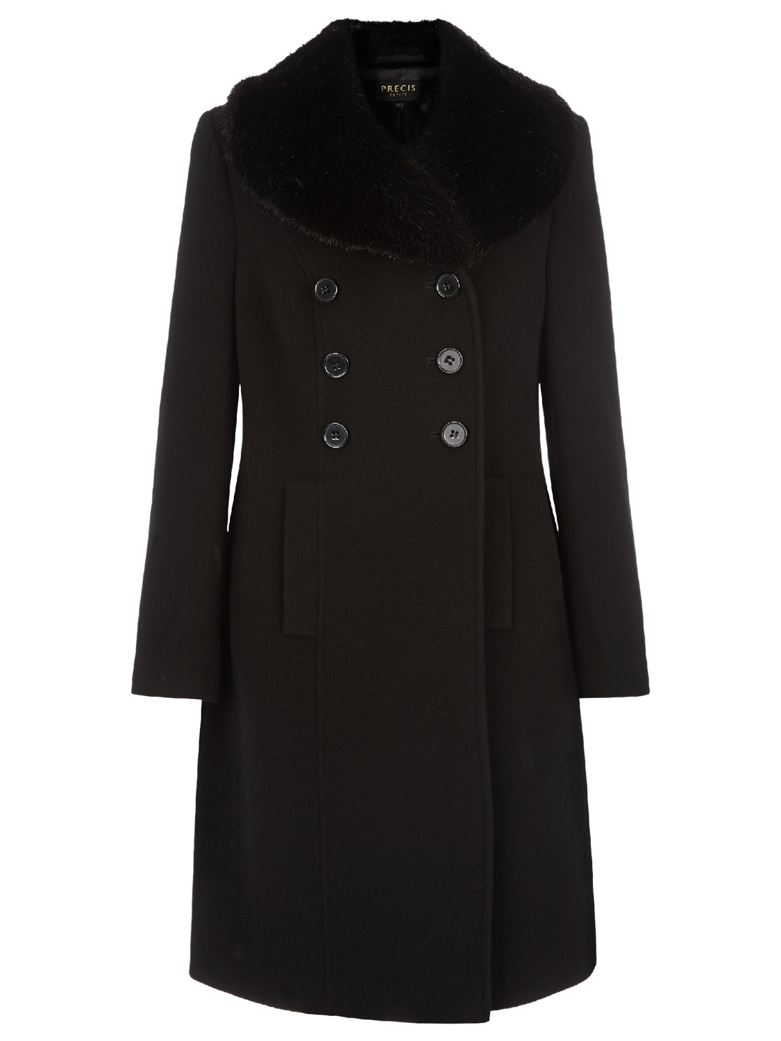 Classical double breasted faux fur collar swing woolen coat india