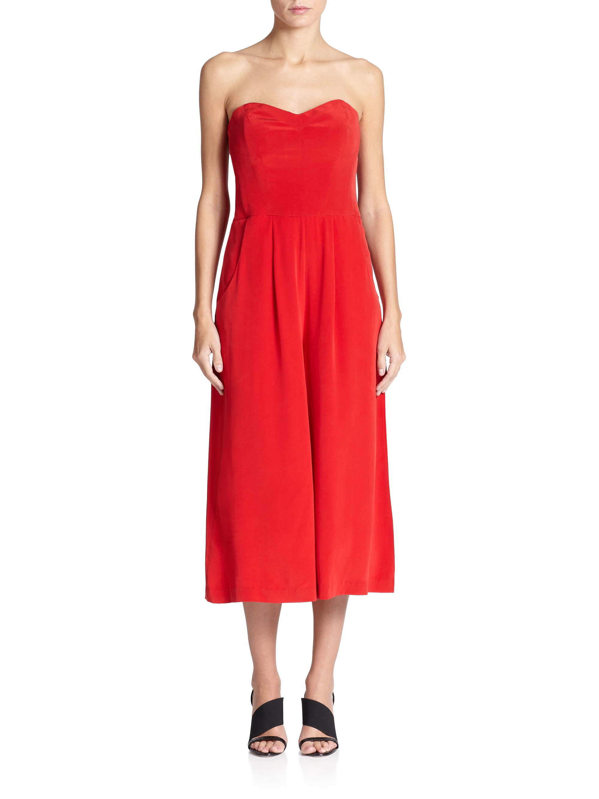 c79a40993498 Lyst - MILLY Strapless Silk Jumpsuit in Red