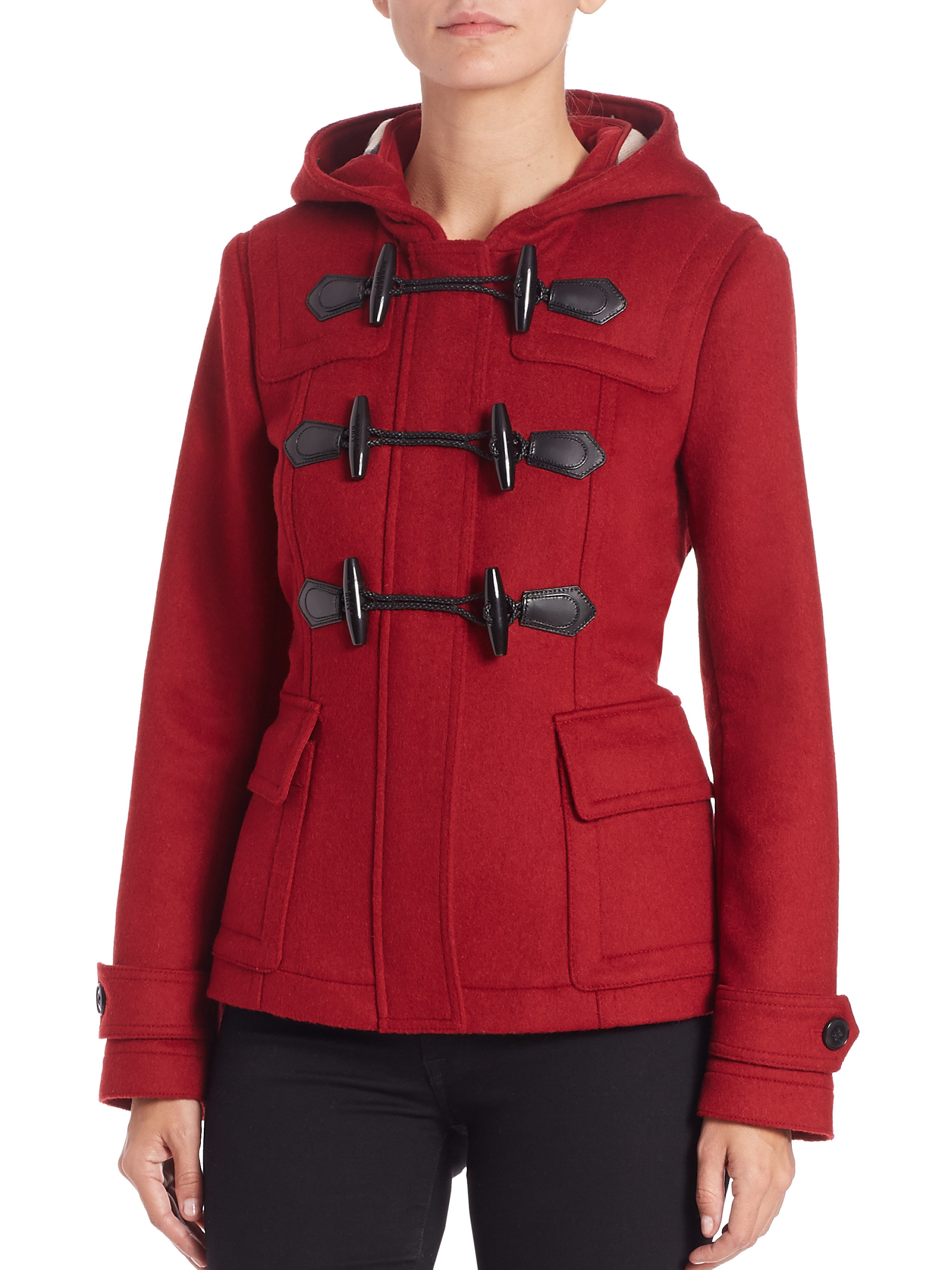 burberry brit short blackwell toggle duffle coat in red lyst. Black Bedroom Furniture Sets. Home Design Ideas