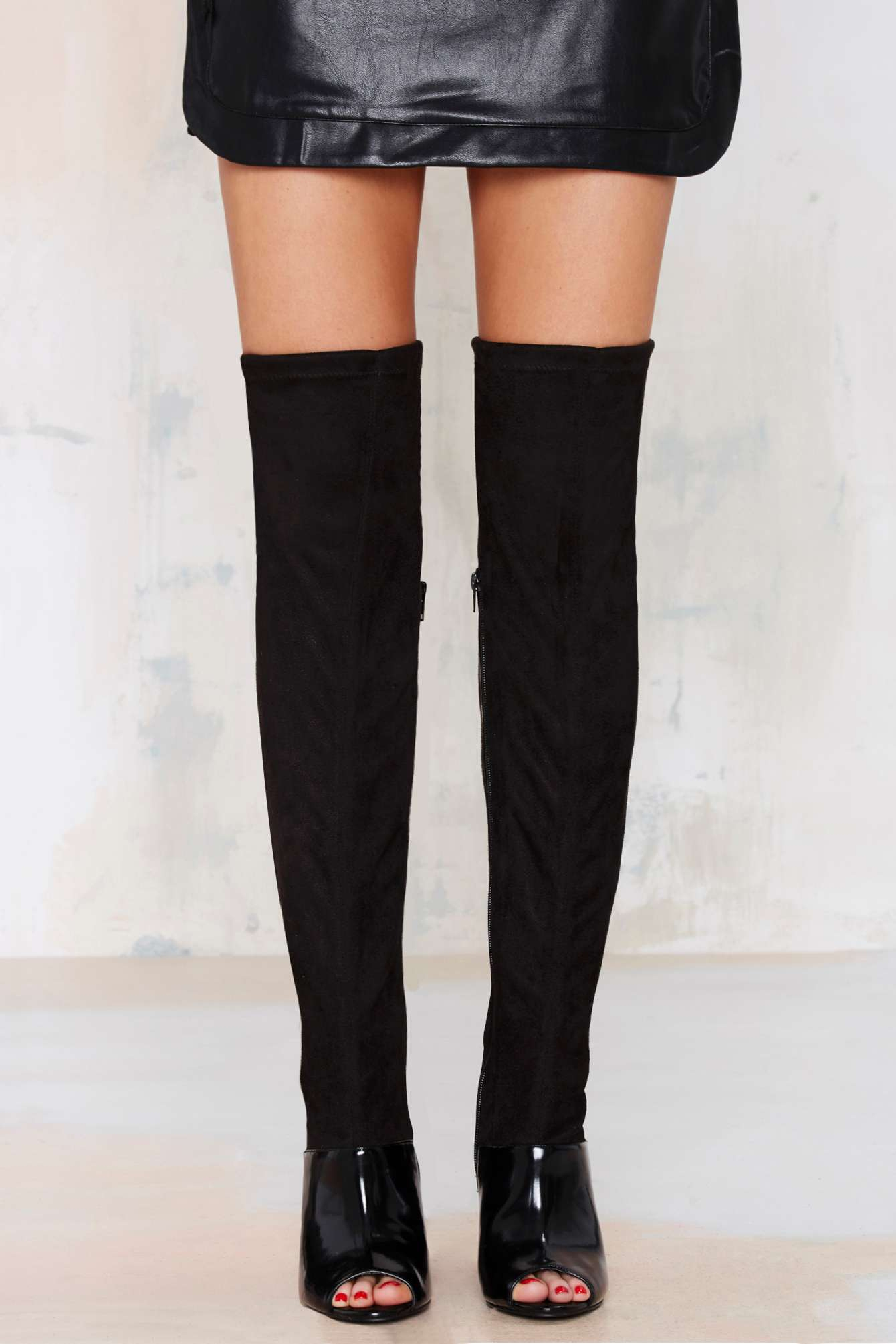 Lyst Nasty Gal Chastity Thigh High Suede Boot In Black