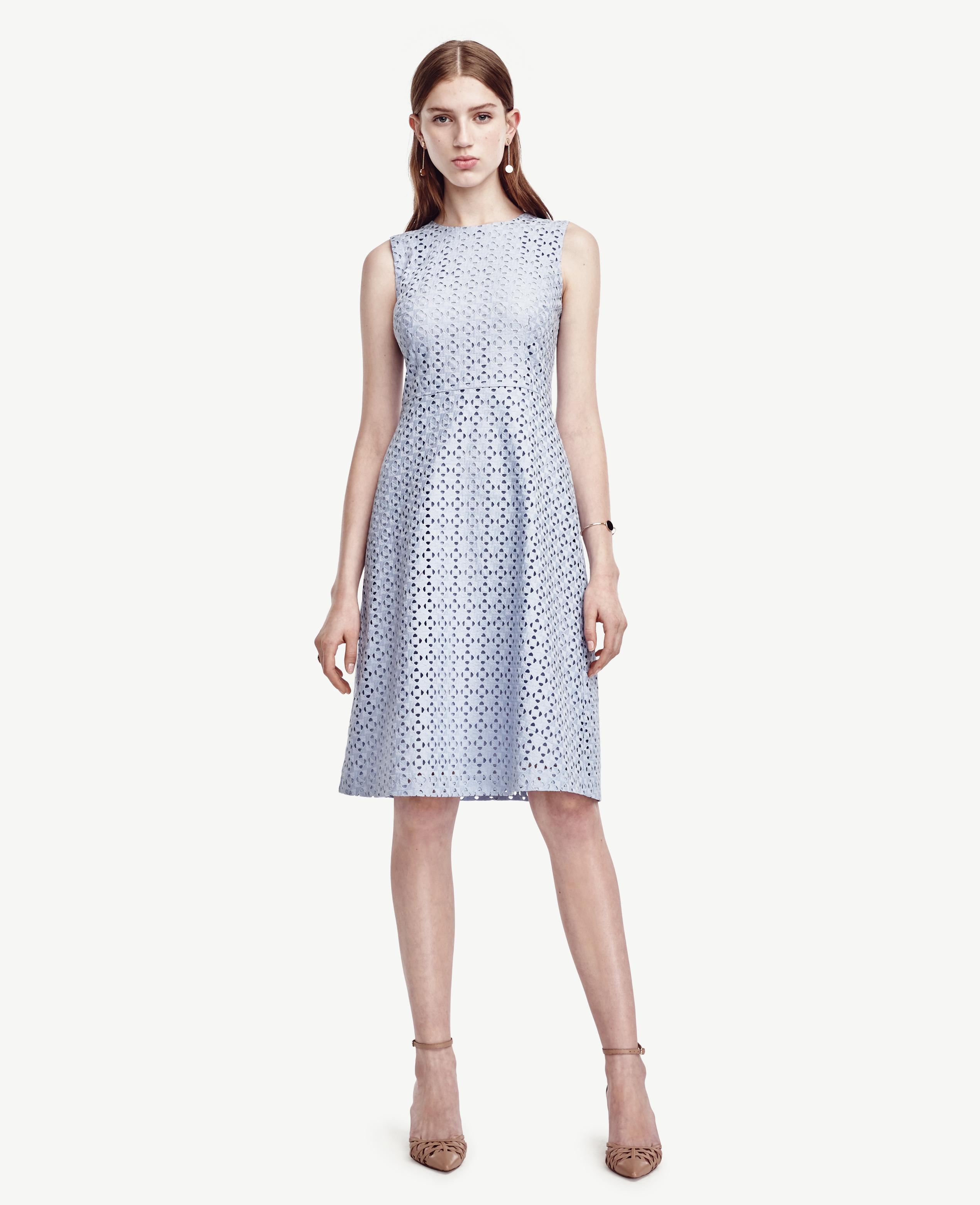 93187e53dcae Ann Taylor Eyelet Flare Dress in Blue - Lyst