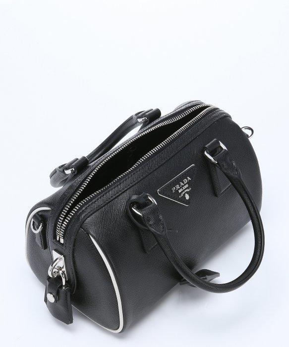 Prada Black And White Saffiano Leather Mini Convertible Bowler ...