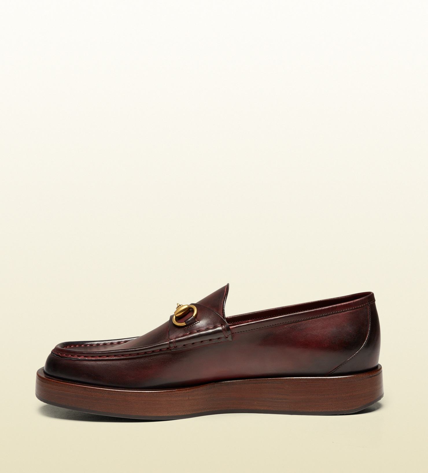 2471a01ebd5b Lyst - Gucci Shaded Leather Platform Horsebit Loafer in Brown for Men