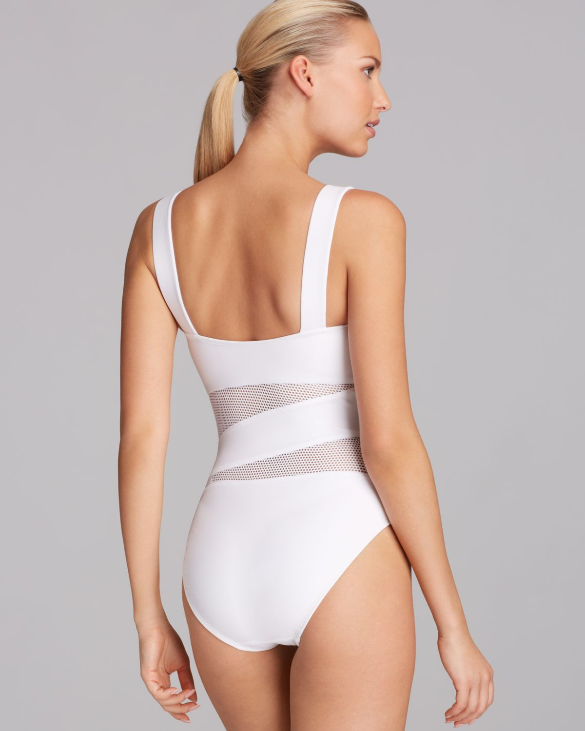 78709c835de1e DKNY Solid Mesh Splice Maillot One Piece Swimsuit in White - Lyst