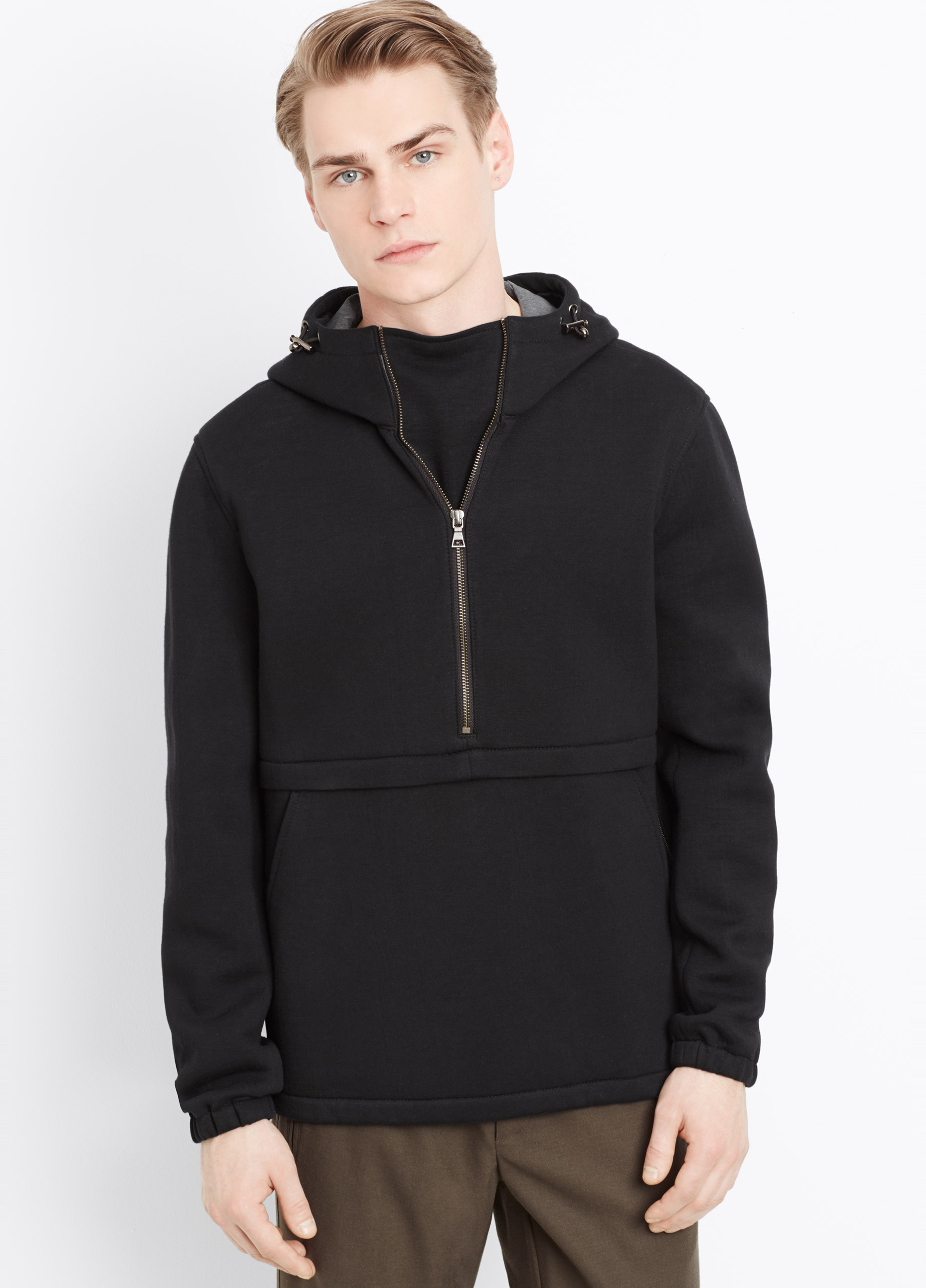 vince neoprene pullover half zip hoodie in black for men. Black Bedroom Furniture Sets. Home Design Ideas
