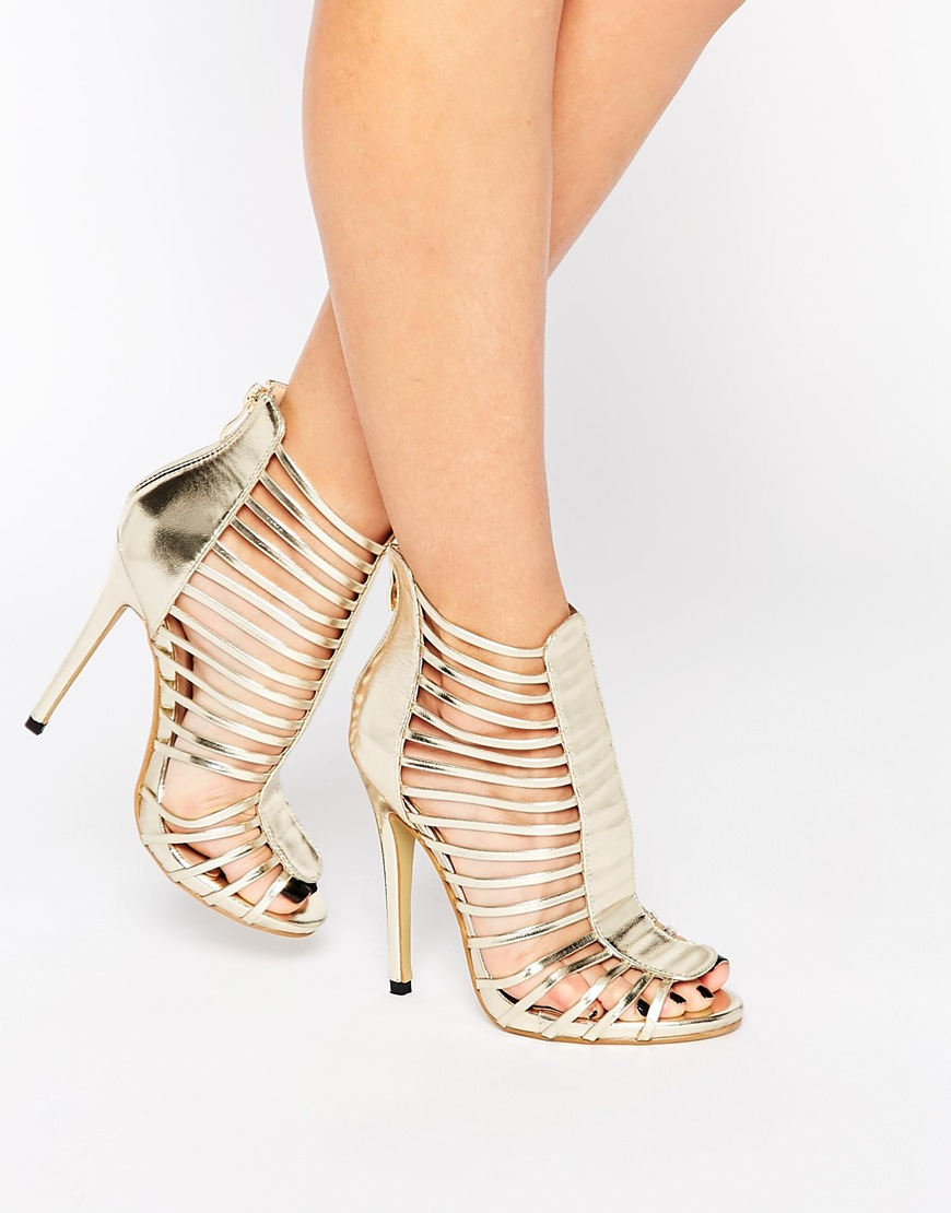 Daisy street Caged Gladiator Gold Heeled Sandals in Metallic | Lyst