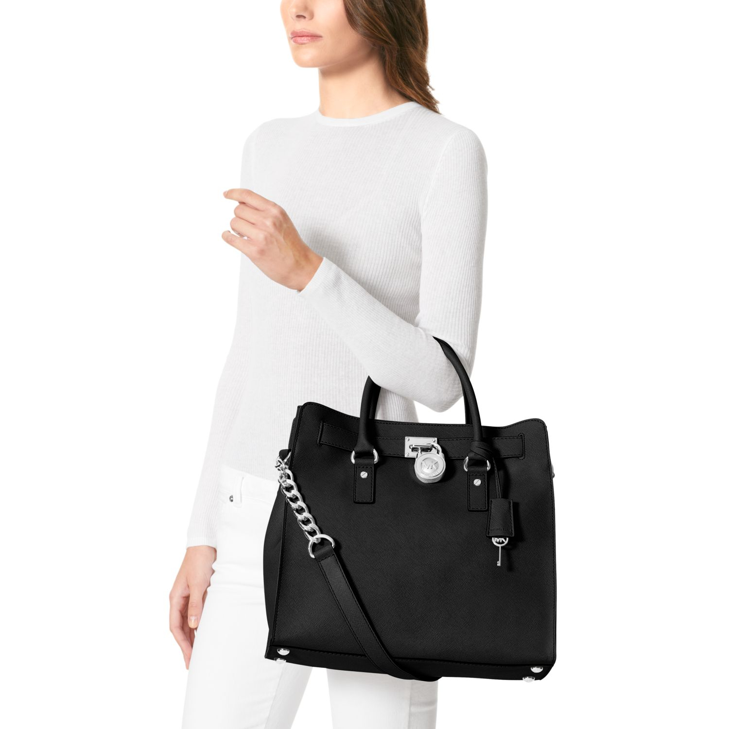 3d7a2b08307a Lyst - Michael Kors Hamilton Saffiano Leather Large Tote in Black