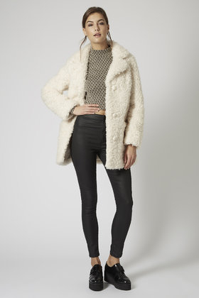 Topshop Petite Faux Fur Teddy Coat in Natural | Lyst