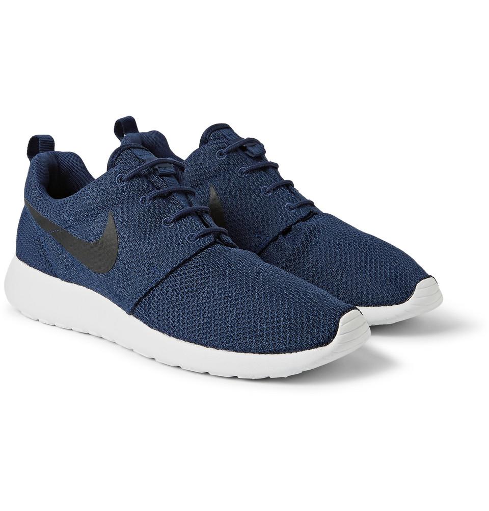 lyst nike roshe run mesh sneakers in blue for men
