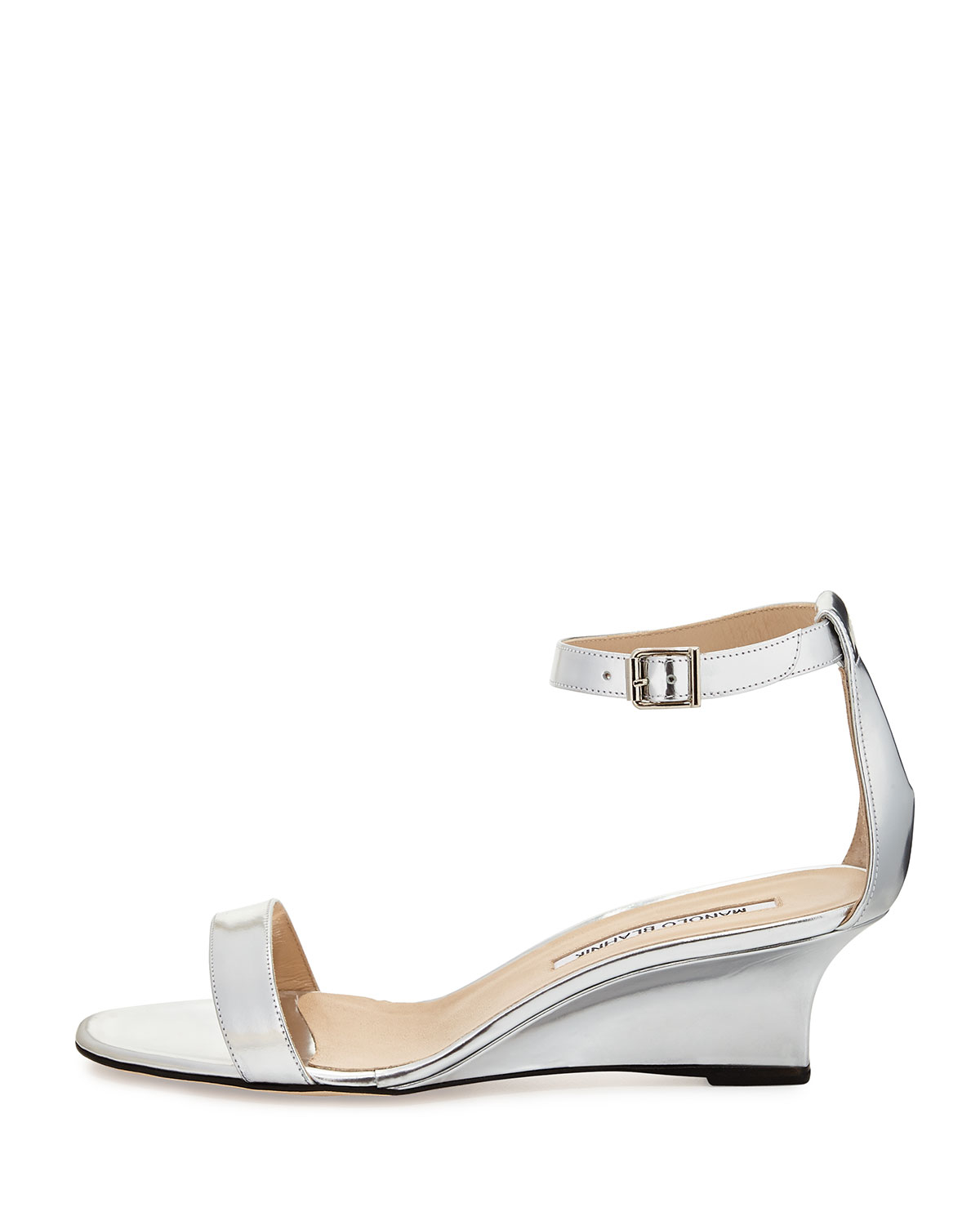 9156f1bdbe62 Lyst - Manolo Blahnik Valere Metallic Demi-Wedge Sandal in Metallic