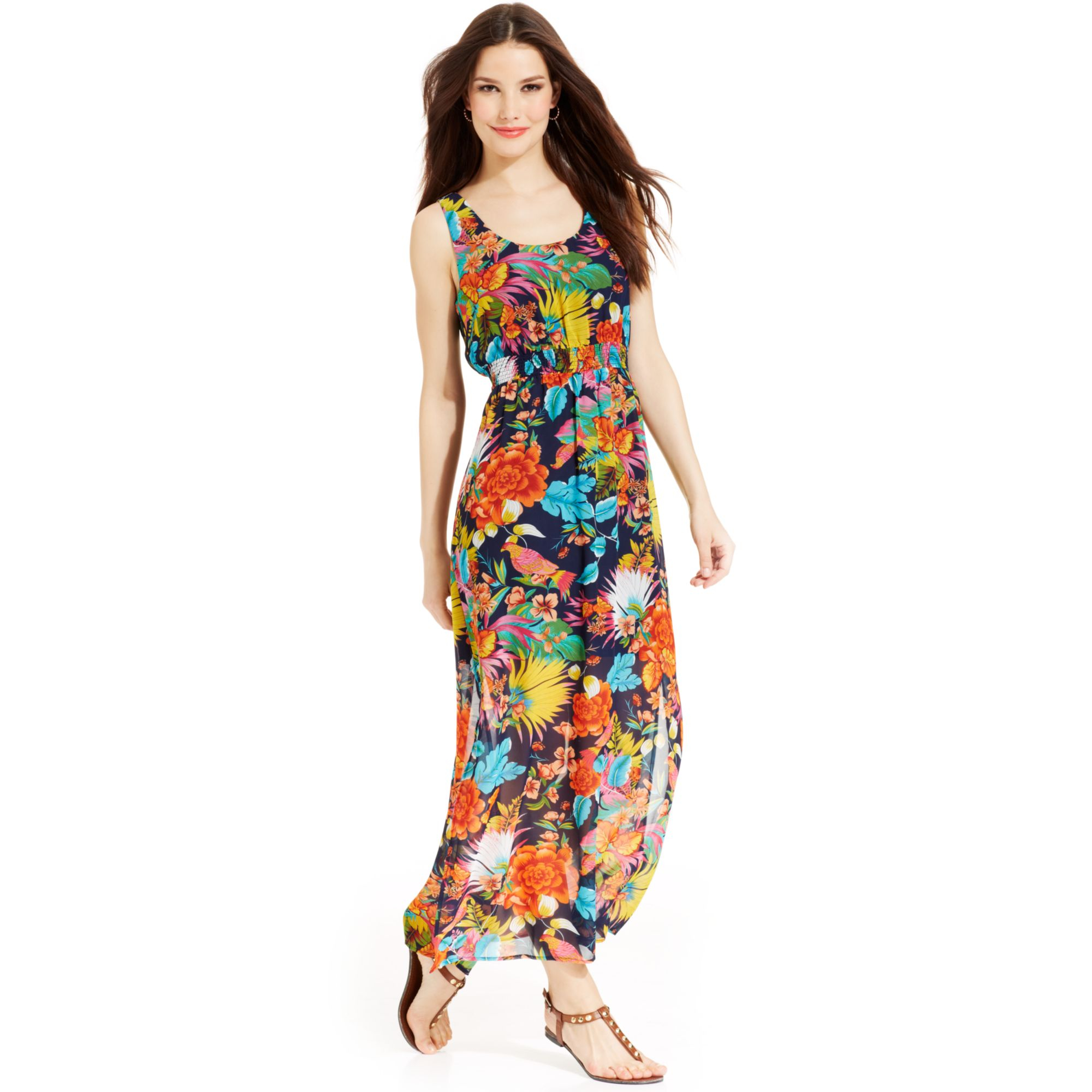 425c112c324 Lyst - Spense Petite Sleeveless Floralprint Empirewaist Maxi Dress
