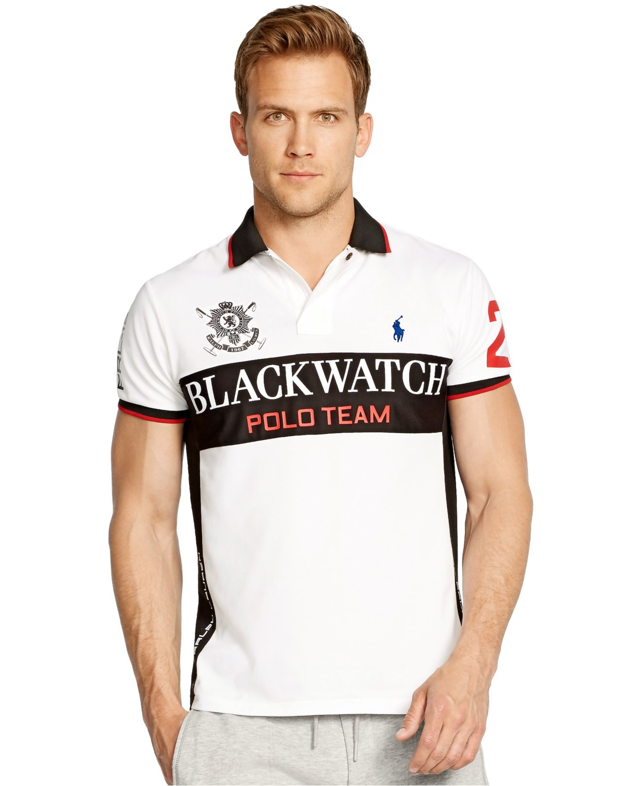 Lyst polo ralph lauren black watch custom fit for Ralph lauren custom fit mesh polo shirt