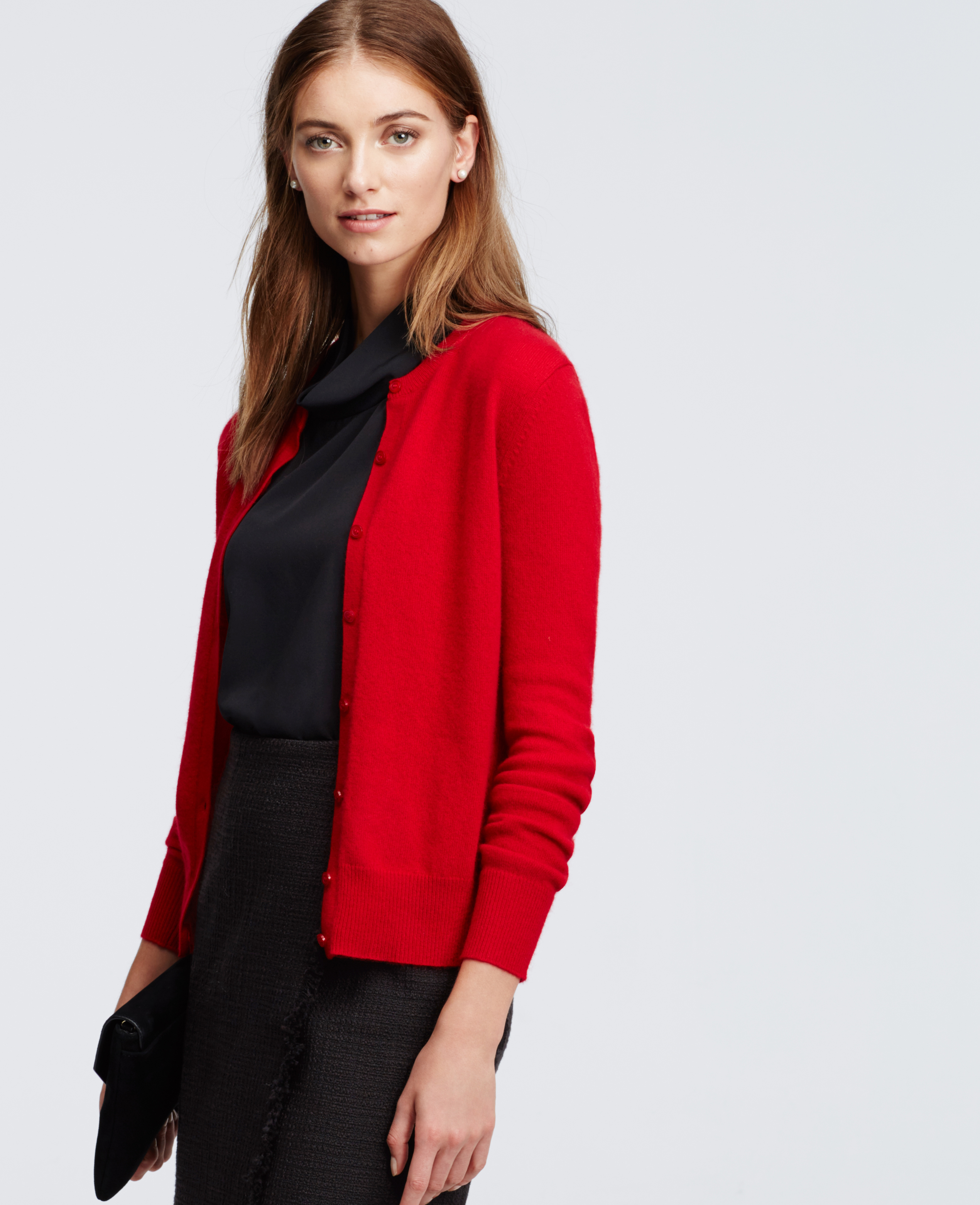 Lyst - Ann Taylor Cashmere Crew Neck Cardigan in Red f0bdfdcc4