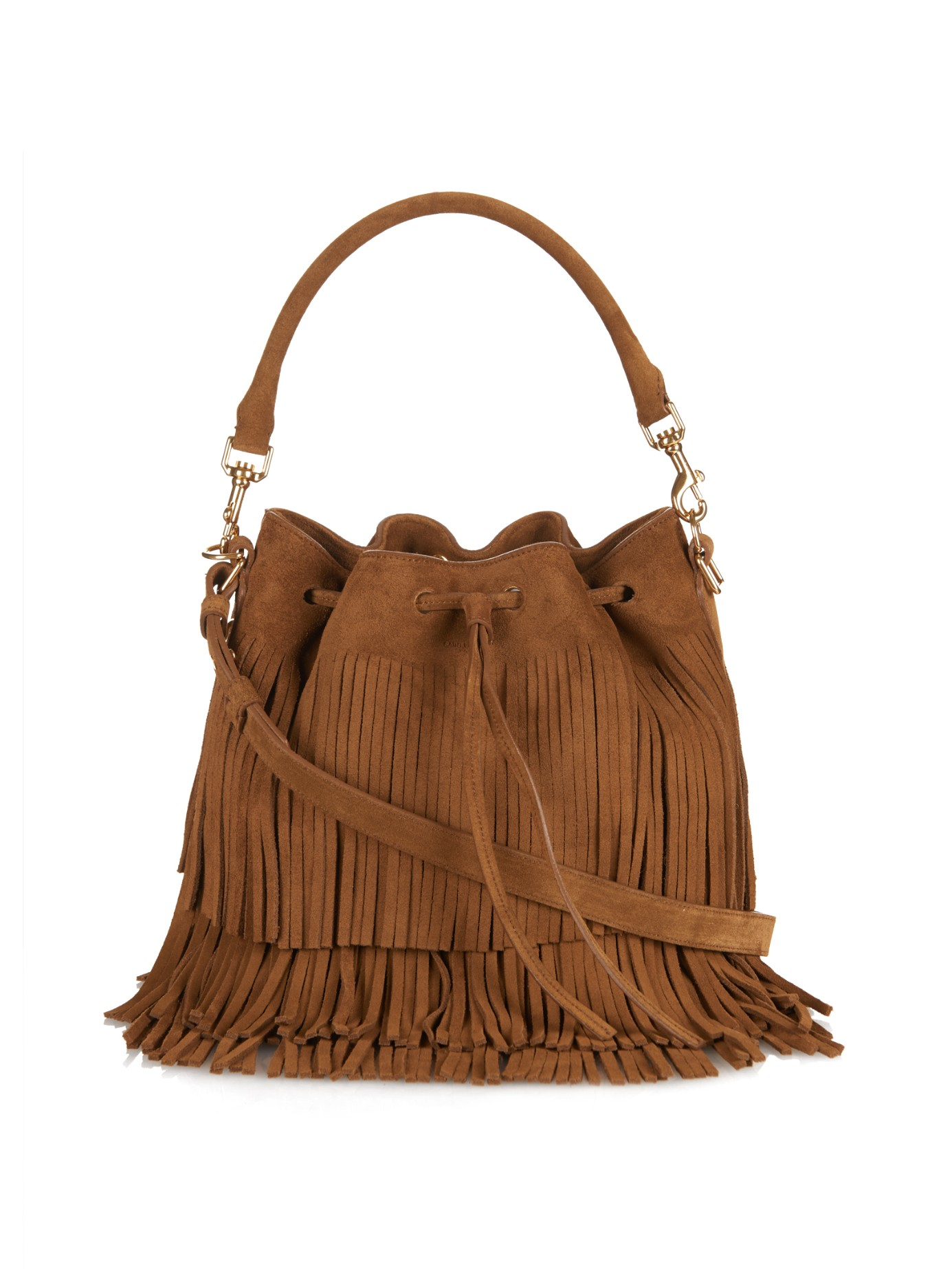 Saint laurent Emmanuelle Fringed Suede Bucket Bag in Brown | Lyst