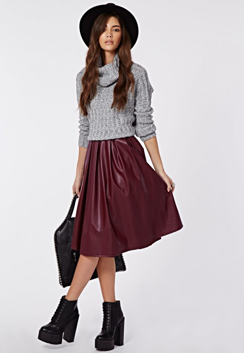 Missguided Rai Faux Leather Full Midi Skirt Burgundy in Purple | Lyst