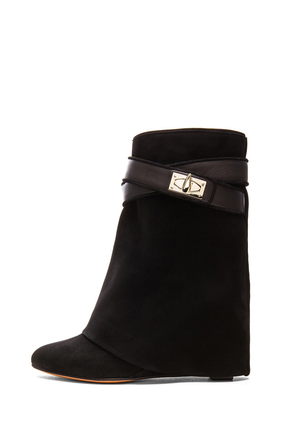 givenchy suede shark lock boot in black lyst