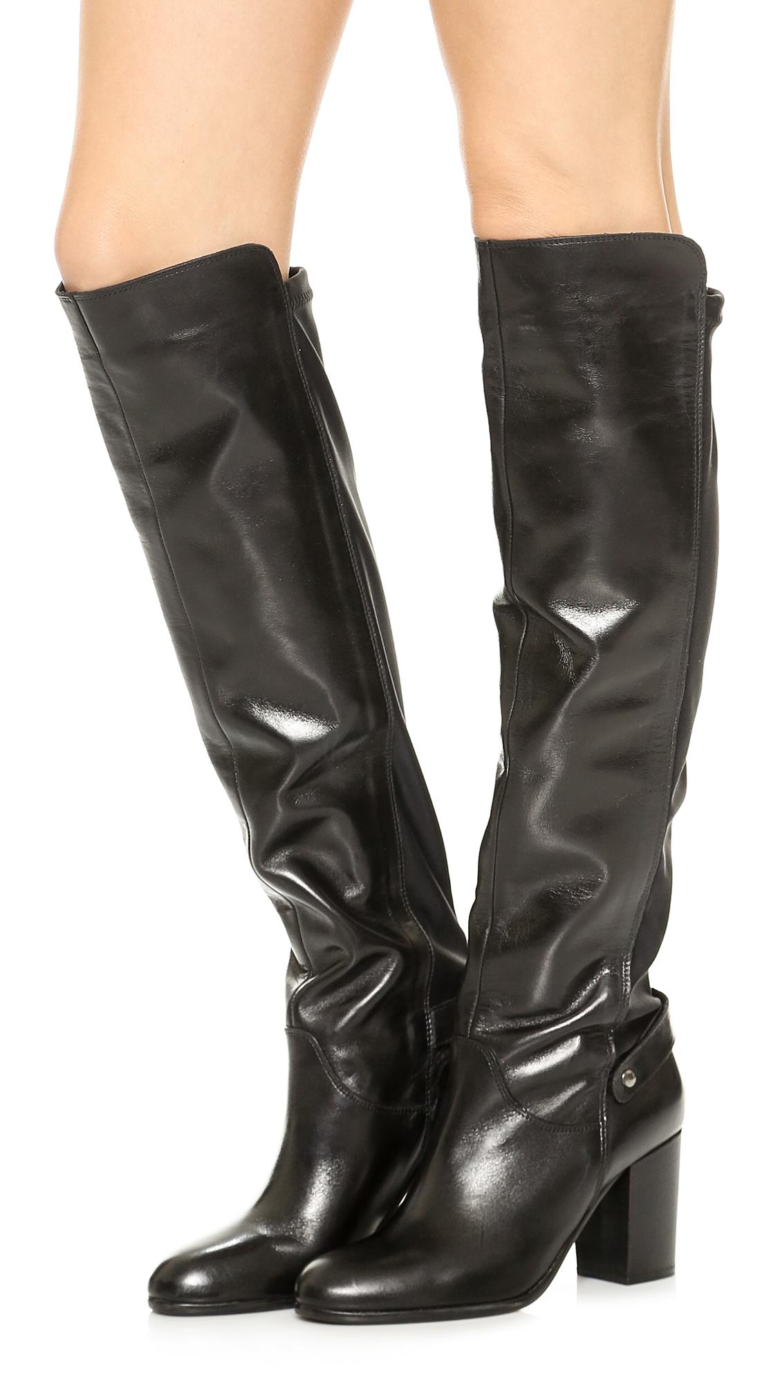 carvela kurt geiger wooden knee high 50 50 boots black