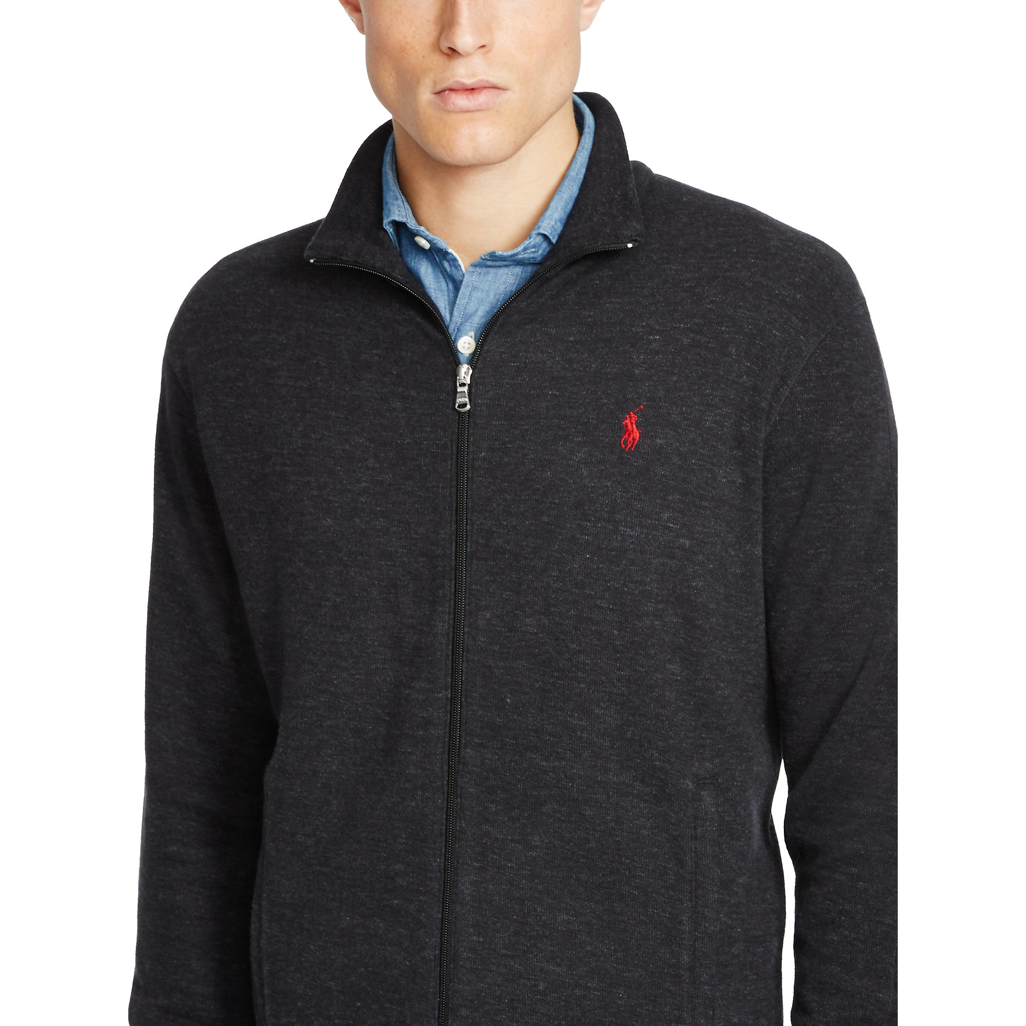 Polo Ralph Lauren French-Rib Full-Zip Black Hoodie .