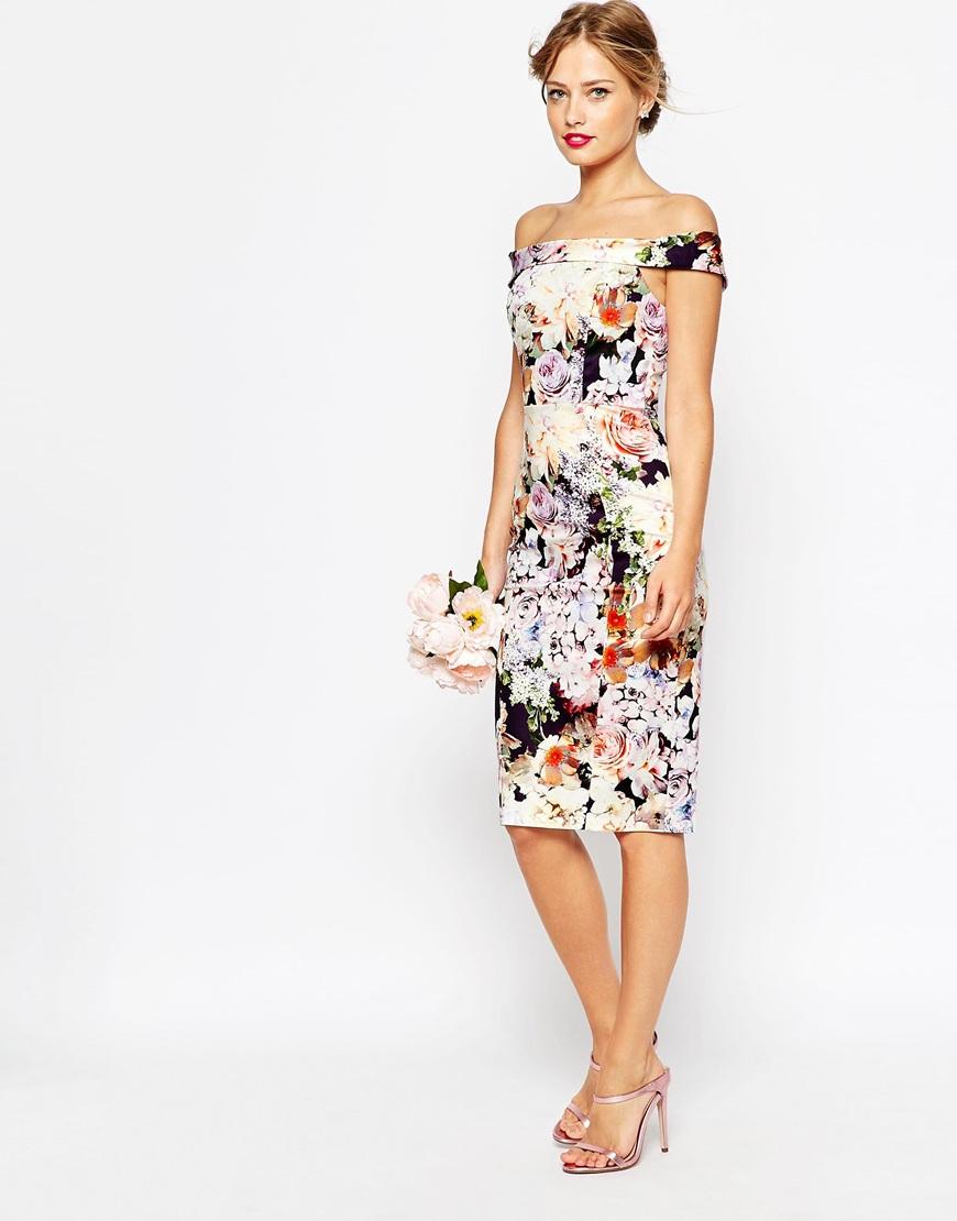Asos tall wedding bardot navy floral off shoulder pencil for Pencil dress for wedding