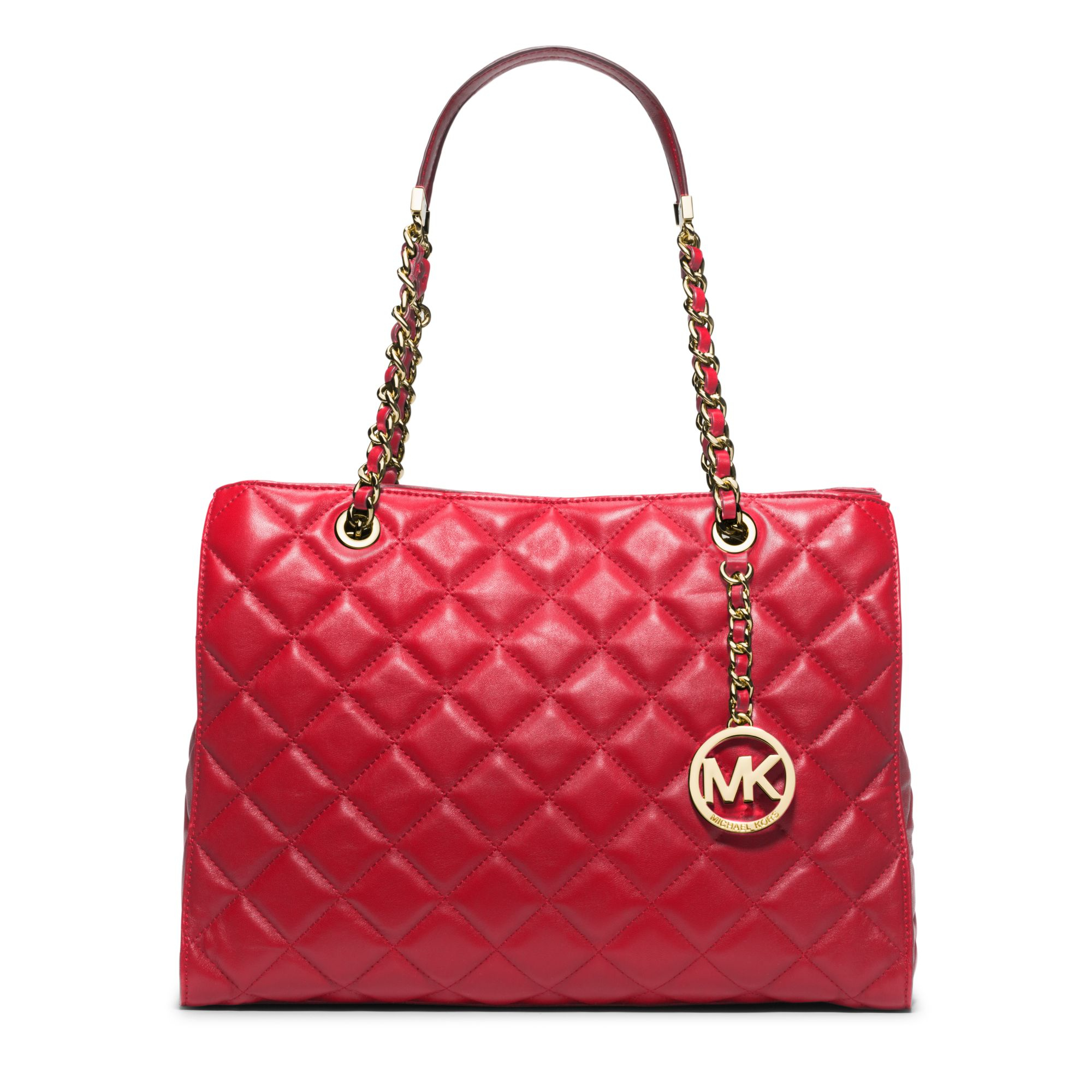 Michael kors Susannah Large Quilted-Leather Tote in Red | Lyst