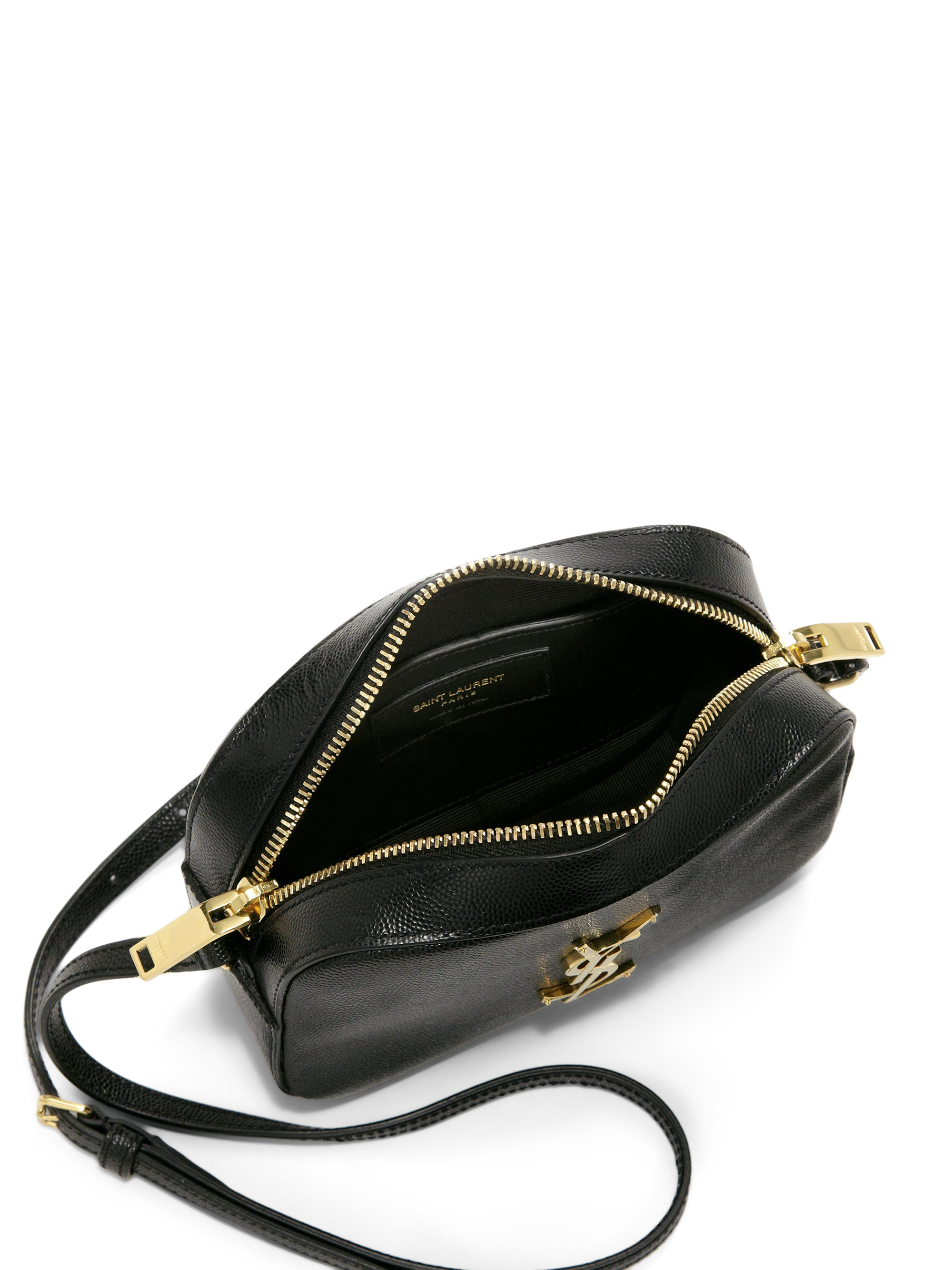 c664f35b6f Lyst - Saint Laurent Monogram Small Textured Leather Camera Bag in Black