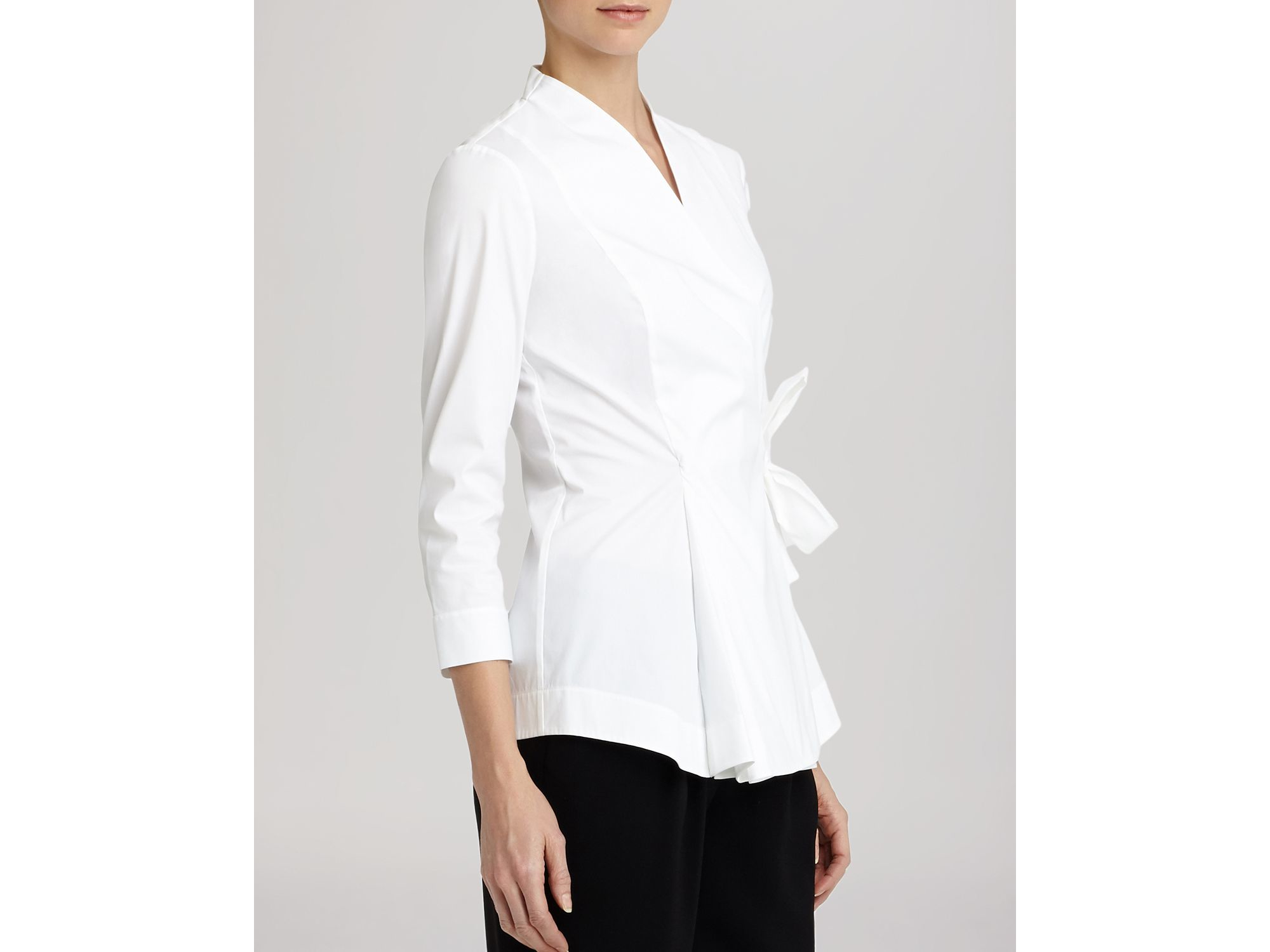 Lafayette 148 New York Jillian Wrap Blouse In White Lyst