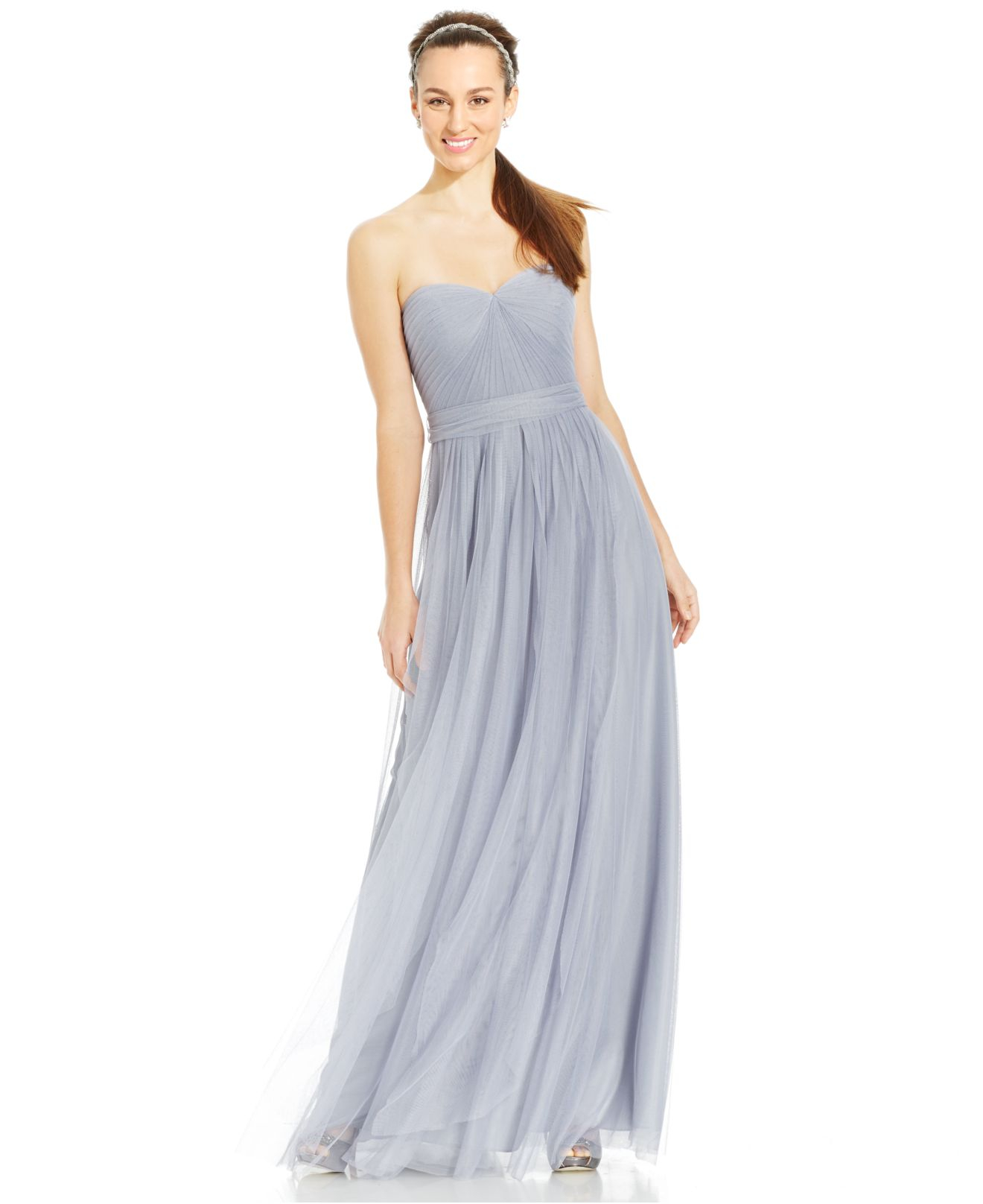 Lyst - Adrianna Papell Pleated Strapless Tulle Gown in Metallic
