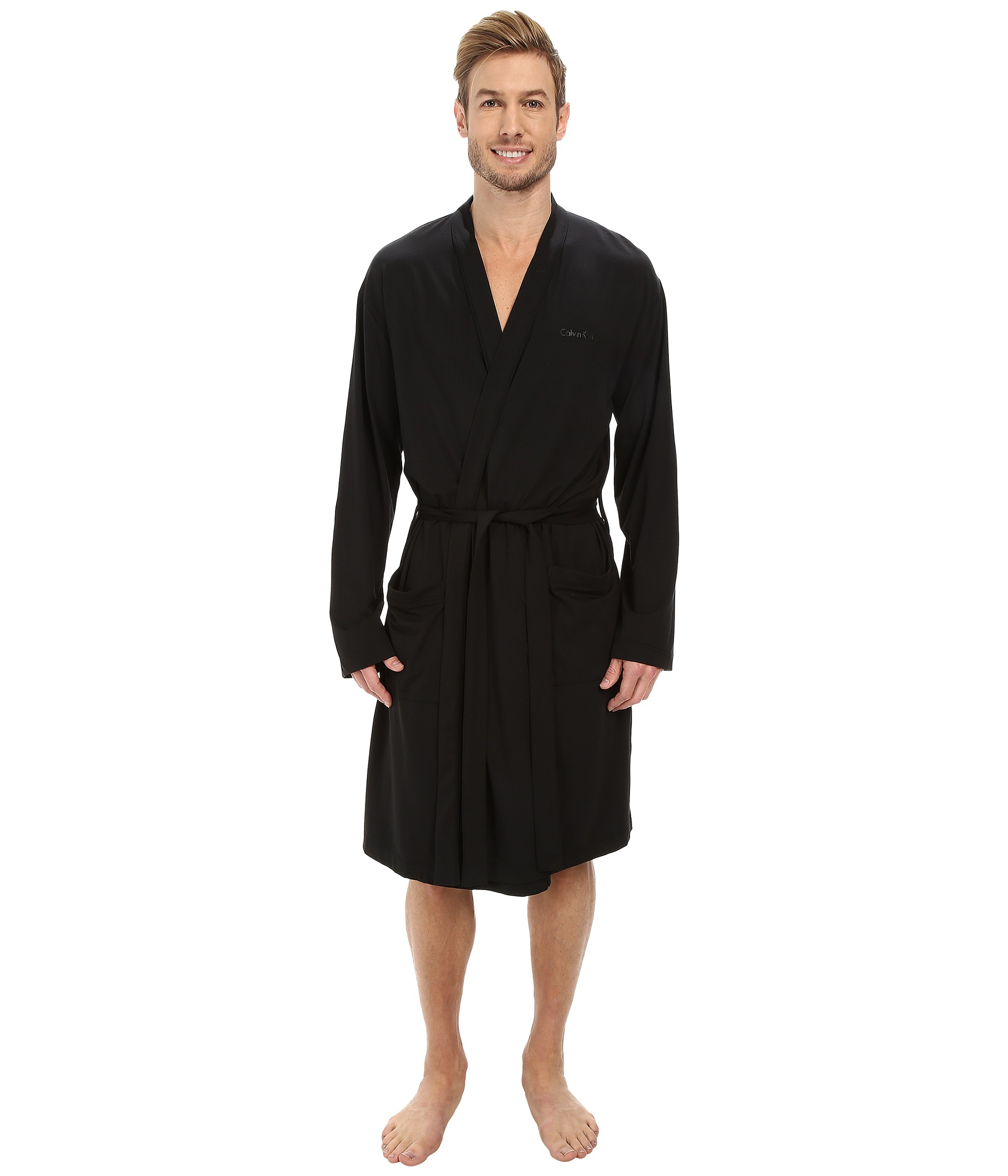 Lyst - Calvin Klein Cotton Modal Robe in Black 869e66ef0