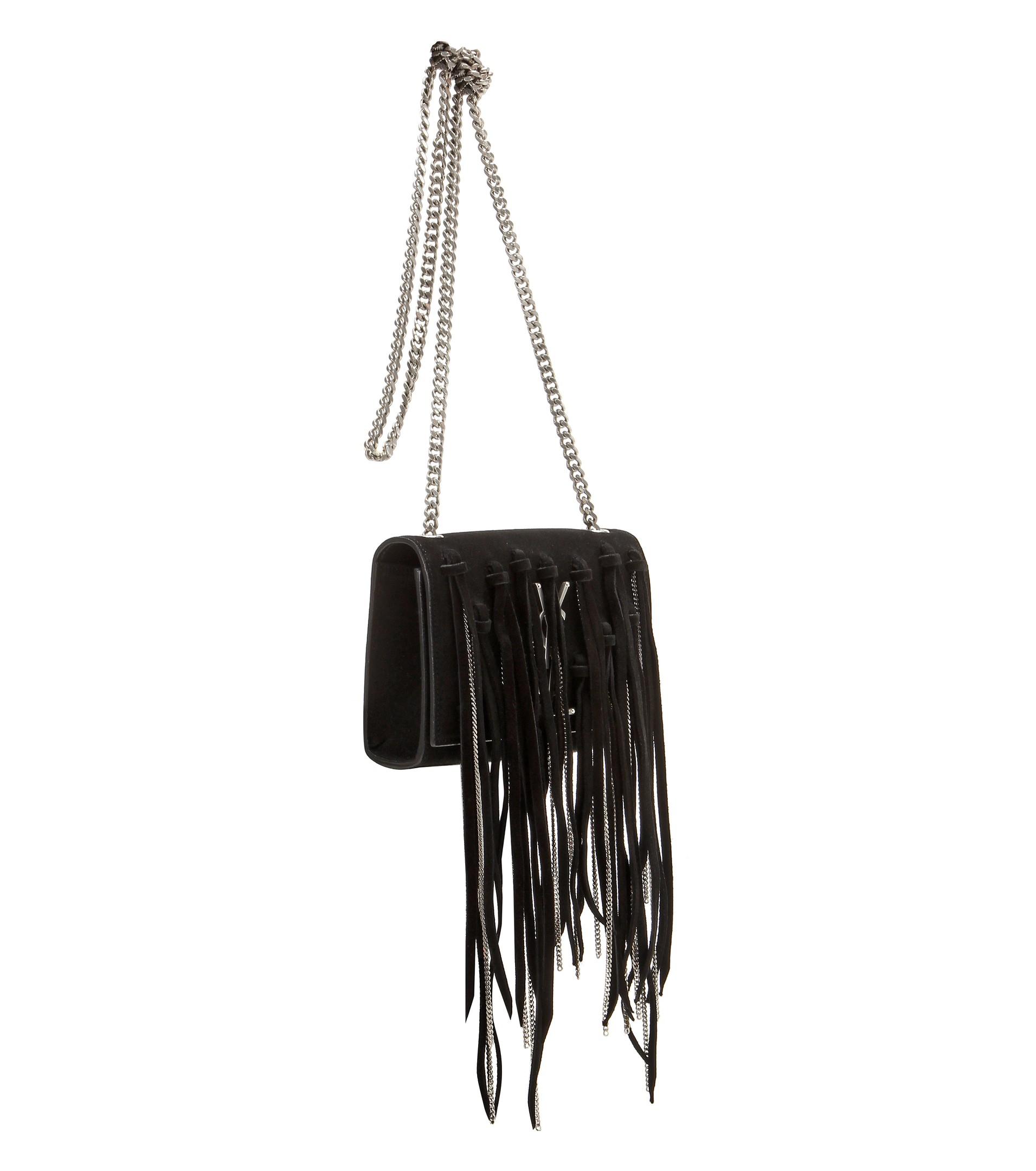 yves saint laurent small monogramme suede chain tassel bag