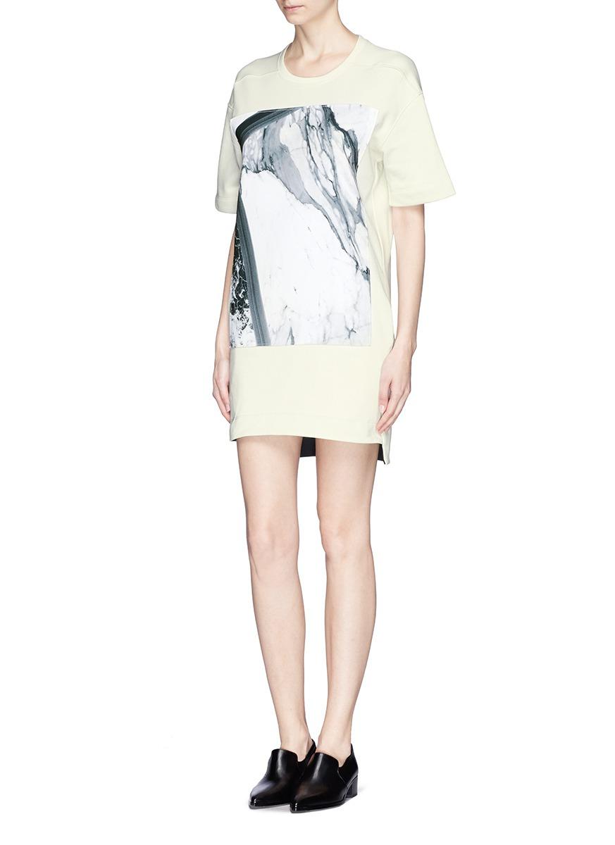 Lyst helmut lang 39 hydra 39 marble print panel sweatshirt for Sweatshirt kleid lang