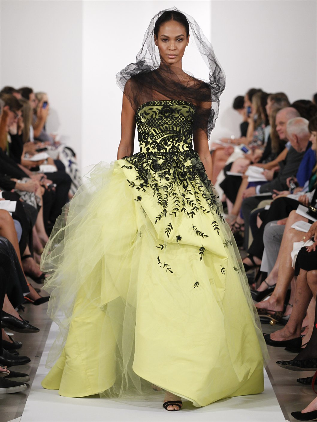 Lyst - Oscar De La Renta Strapless Embroidered Ball Gown in Yellow